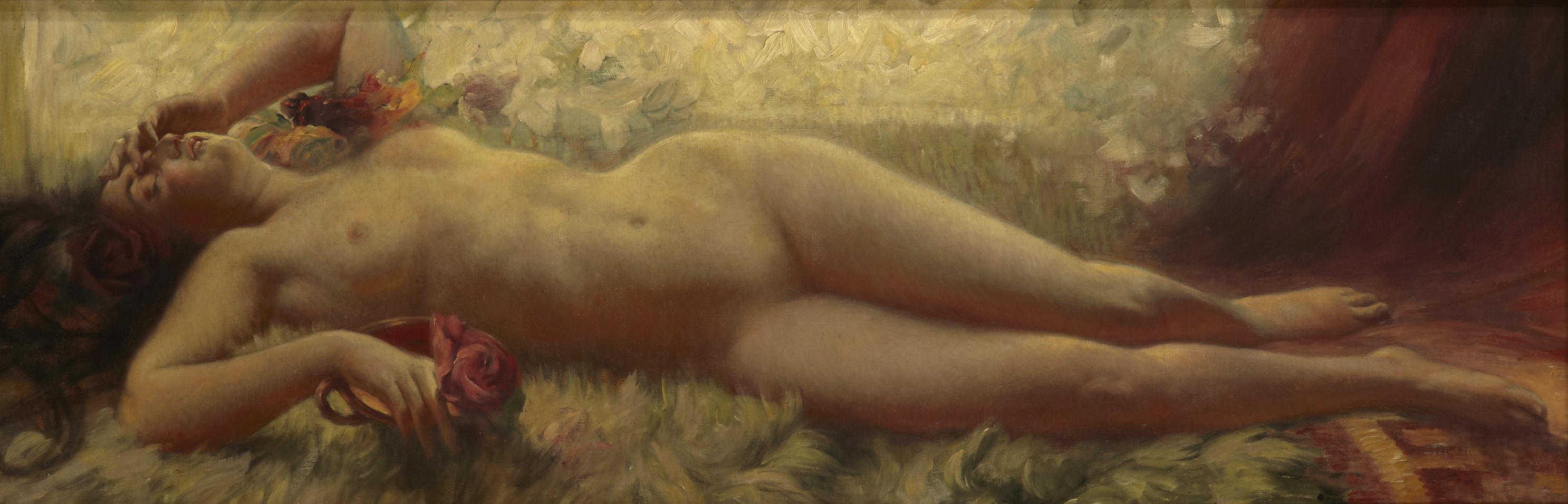 Eduard Buchler, 1861-1958. Лежащая обнаженная. 41.2 x 122.5 см. Частная коллекция