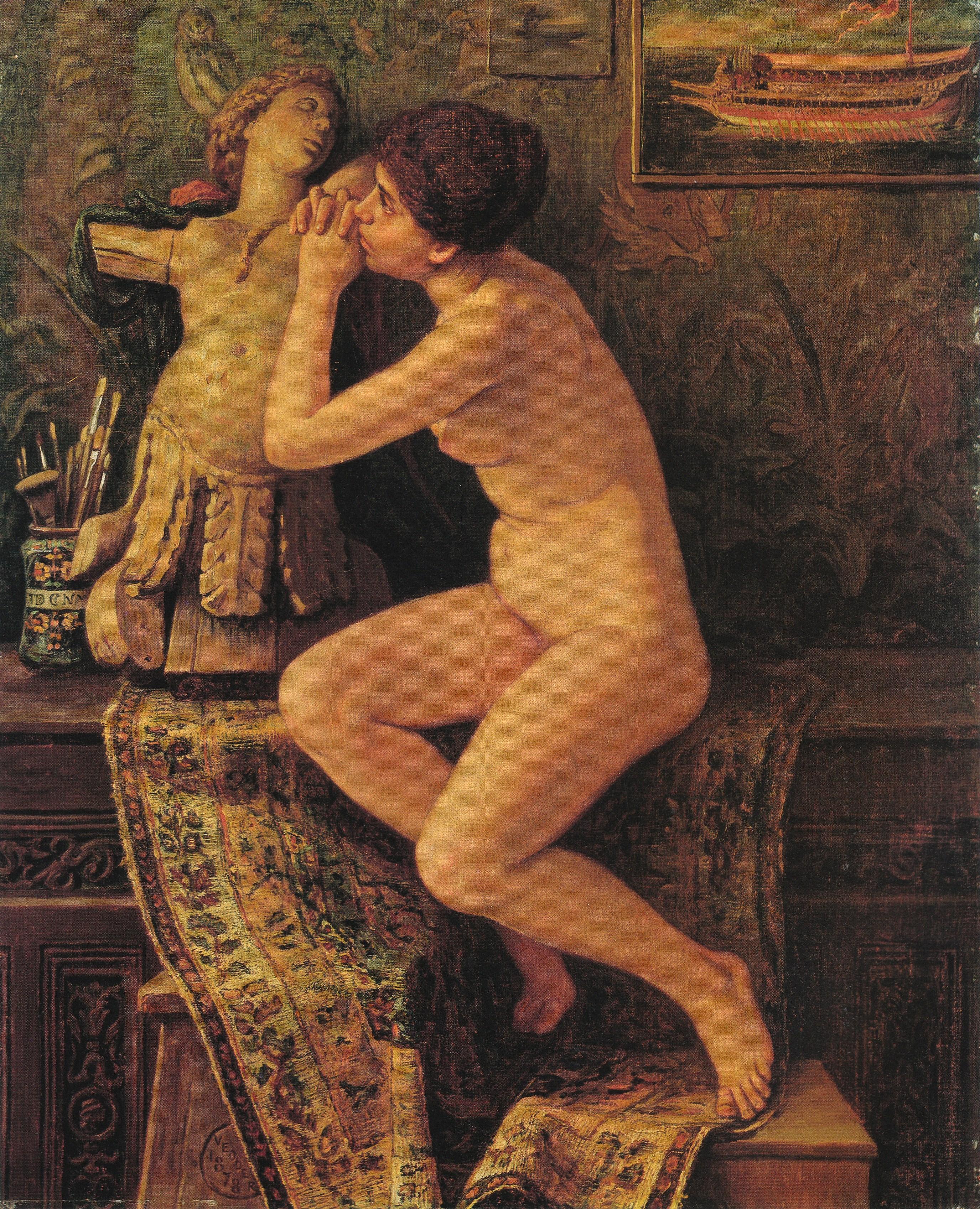 Elihu Vedder, 1836-1923. Обнаженная венецианка. 1878. 45.7 х 37.8 см. Колумбус, музей Искусства