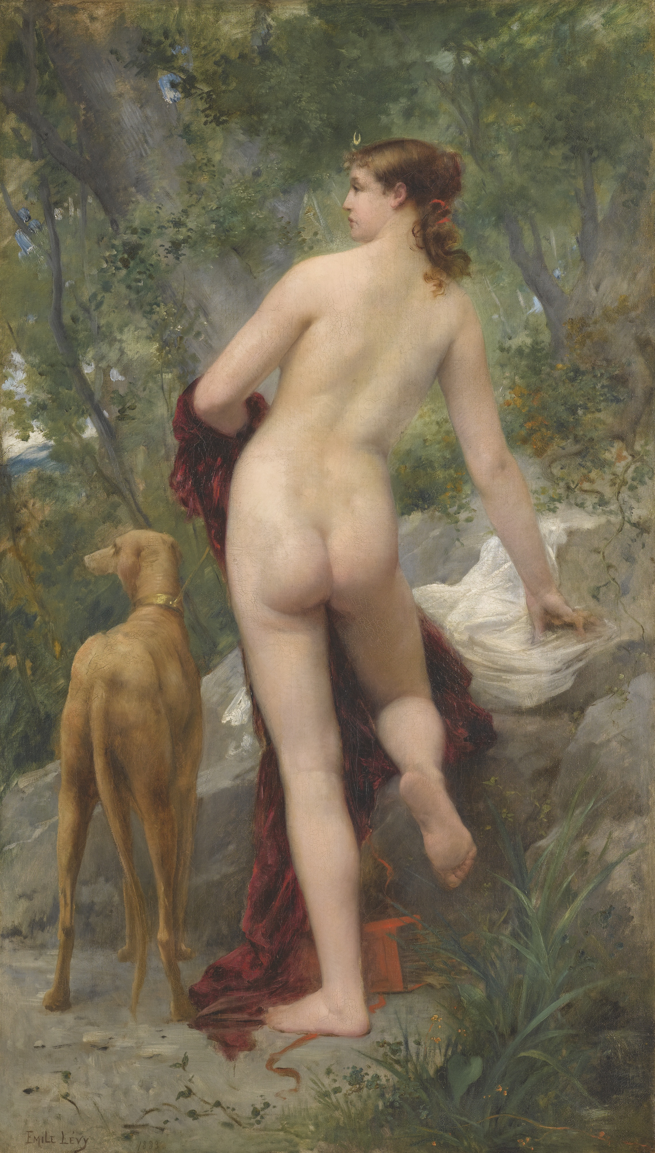 Emile Levy, 1826-1890. Диана в лесу. 107 х 61 см. Частная коллекция