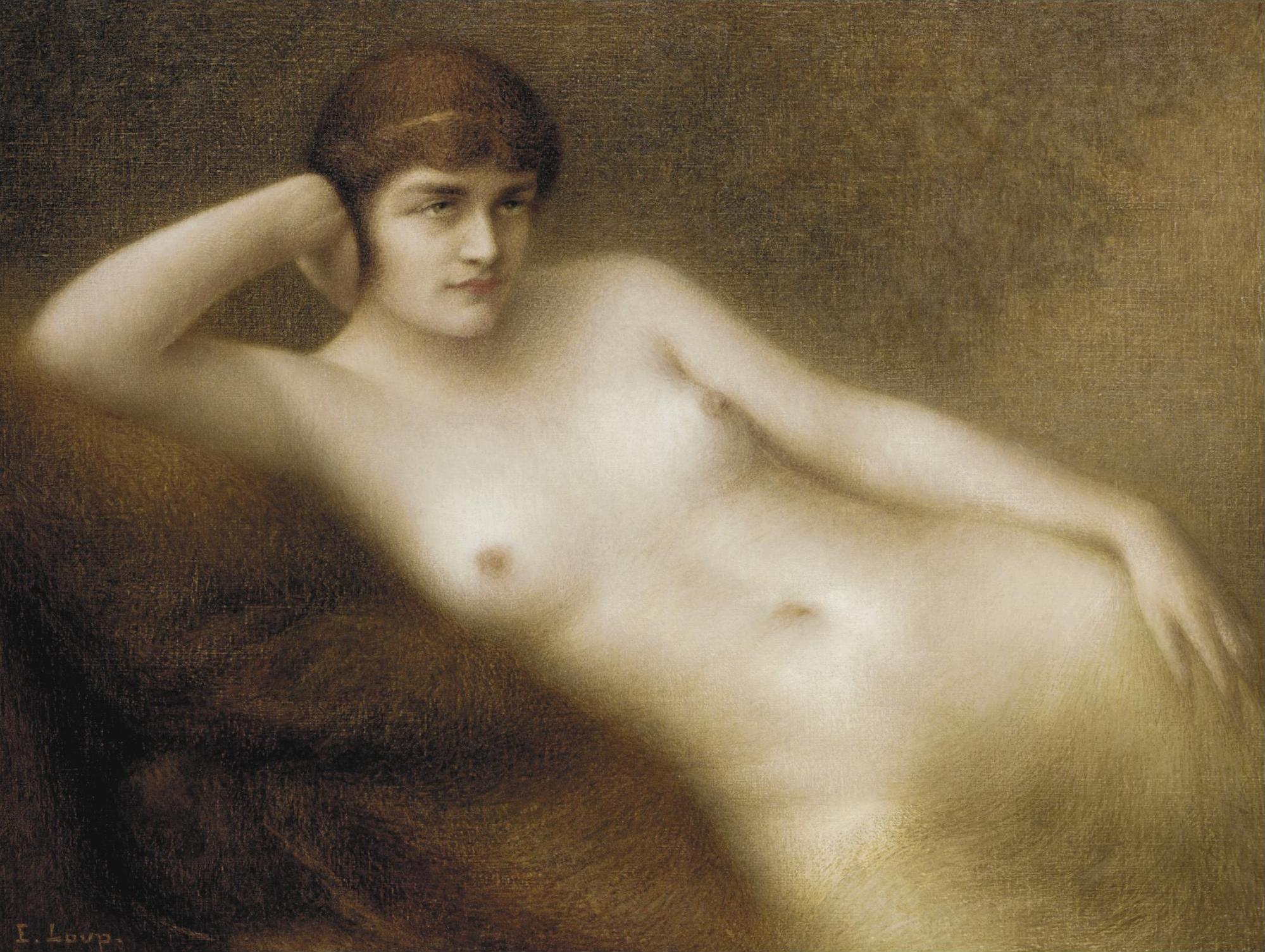 Eugene Loup, 1867-1948. Лежащая обнаженная. 89.5 х 117 см. Частная коллекция