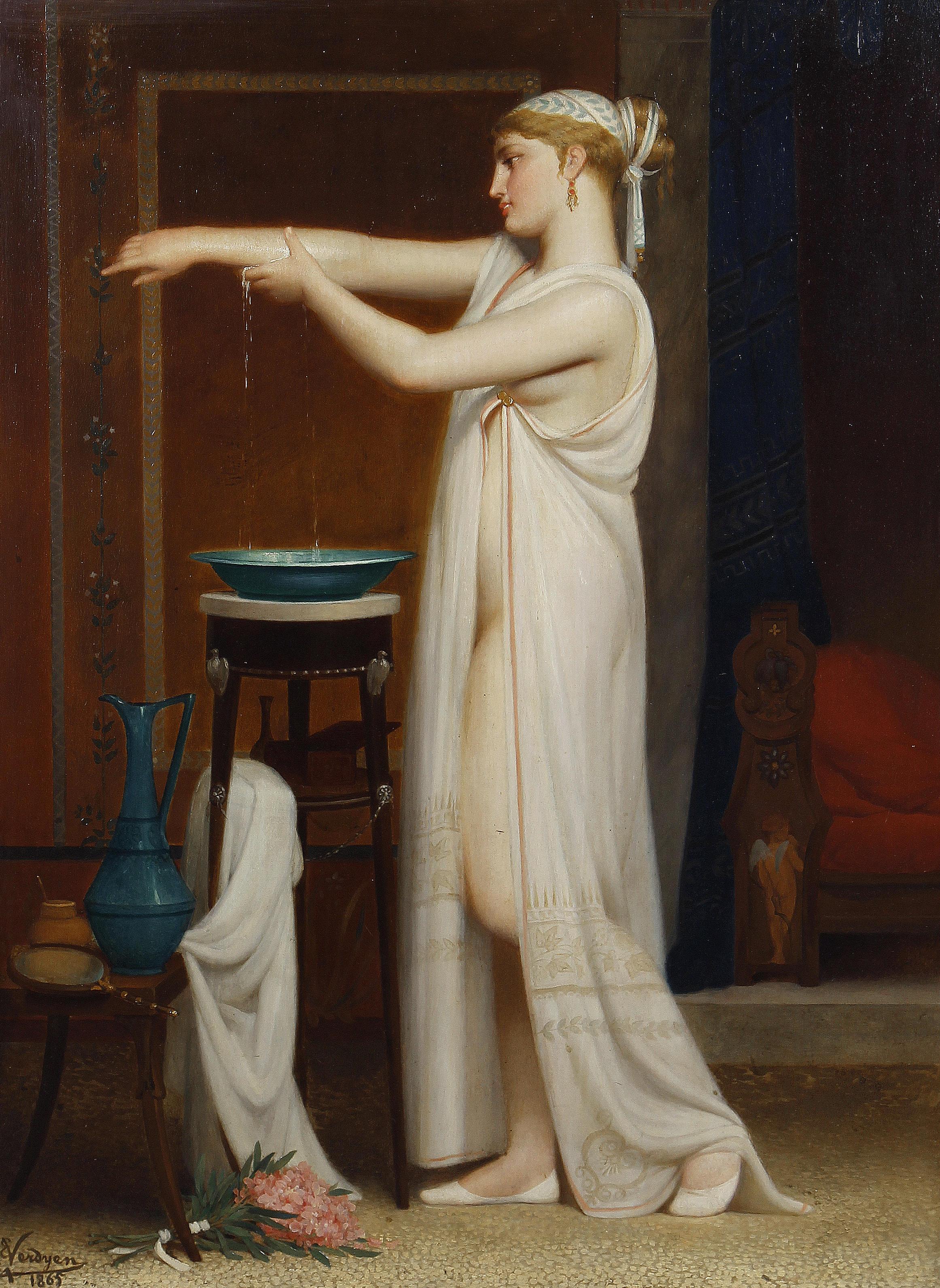 Eugene Verdyen, 1836-1903. Римская купальщица. 59.5 x 42 см. Частная коллекция