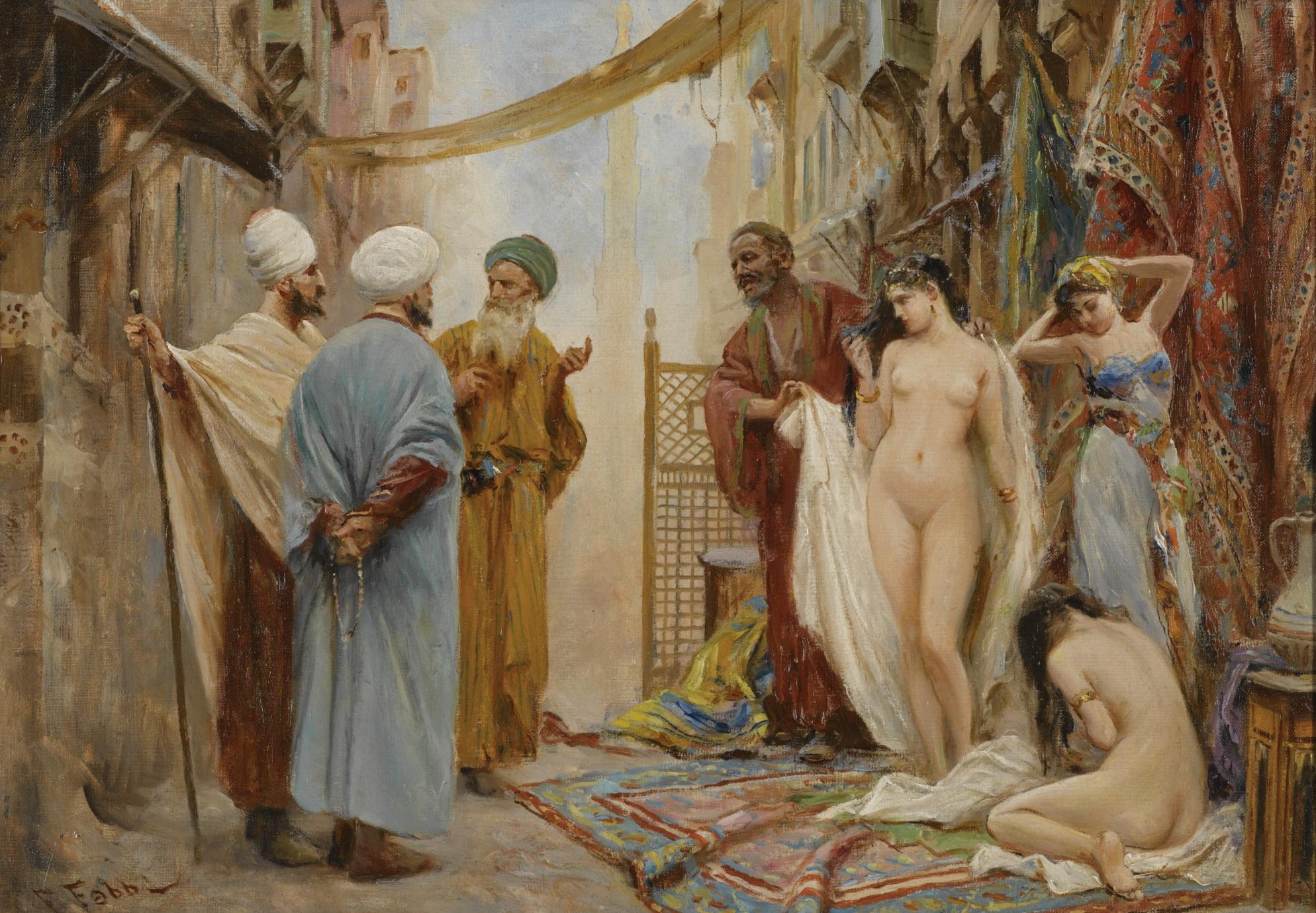 Fabio Fabbi, 1861-1946. Рынок рабов. 44.2 х 63.5 см. Частная коллекция