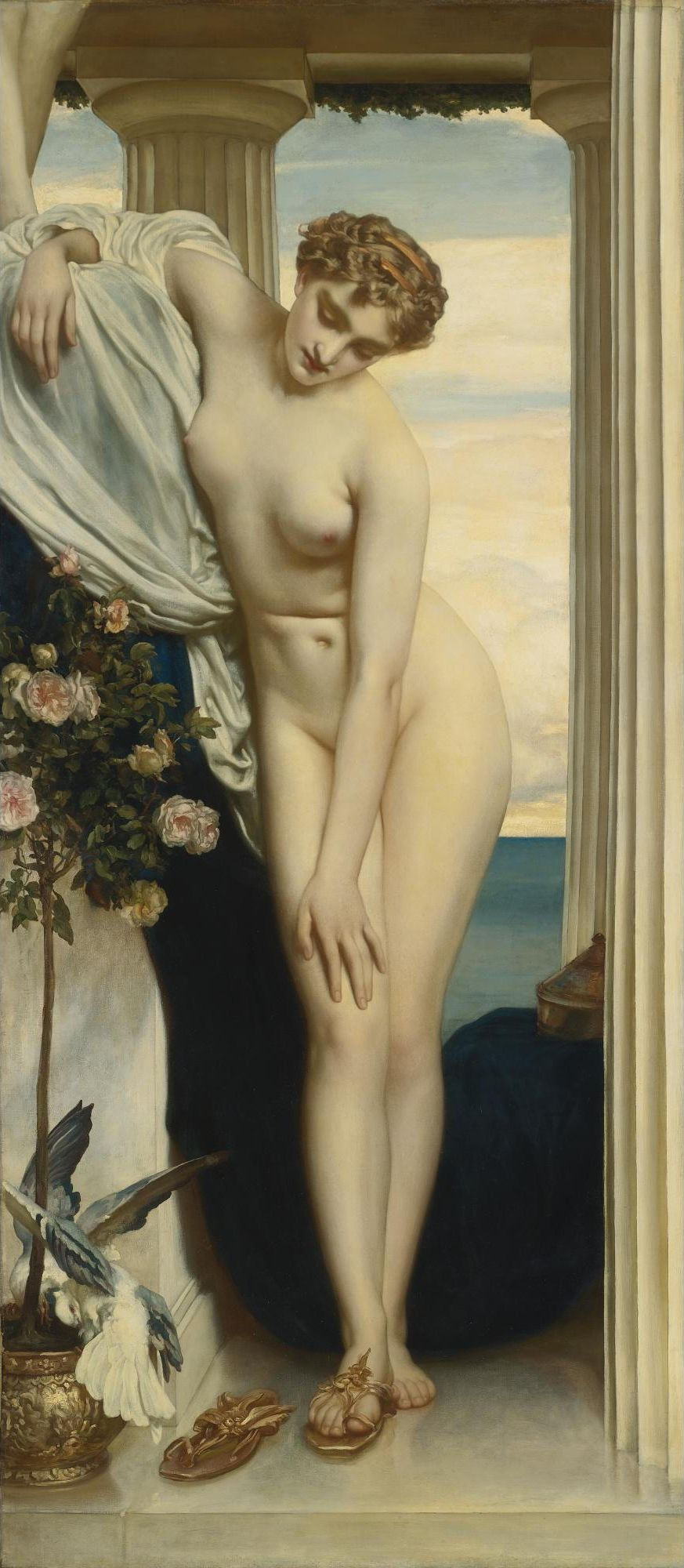 Frederick Leighton, 1830-1896. Венера, раздевающаяся перед купанием. 203 х 91 см. Частная коллекция