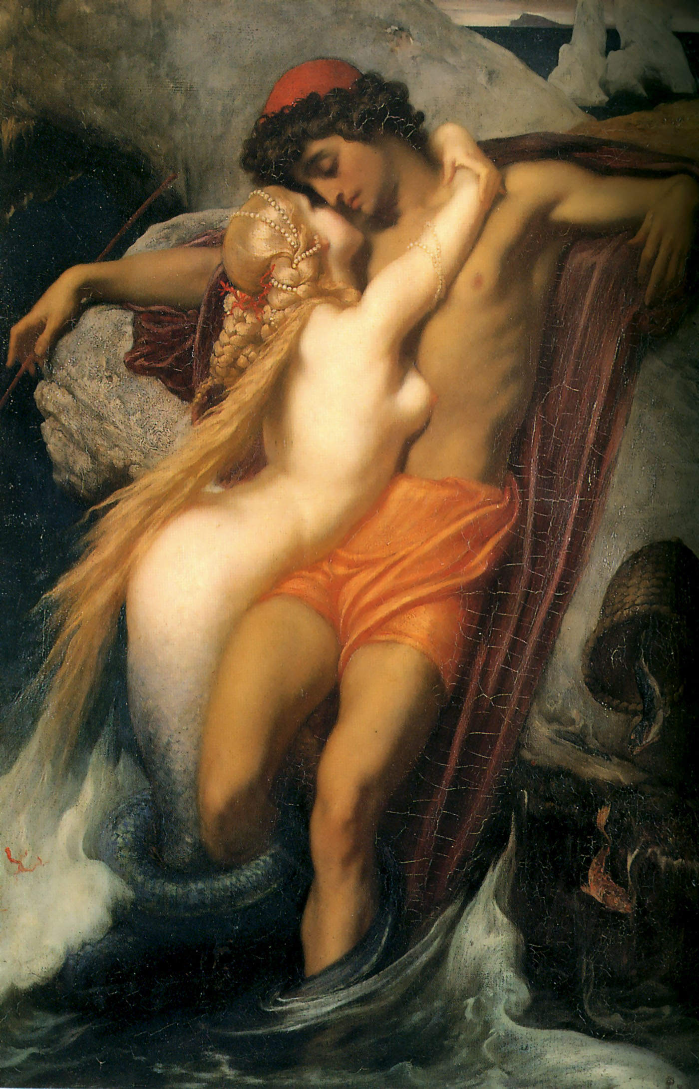 Frederick Leighton, 1830-1896. Рыбак и сирена. 1856-1858. 66.3 х 48.7 см. Частная коллекция