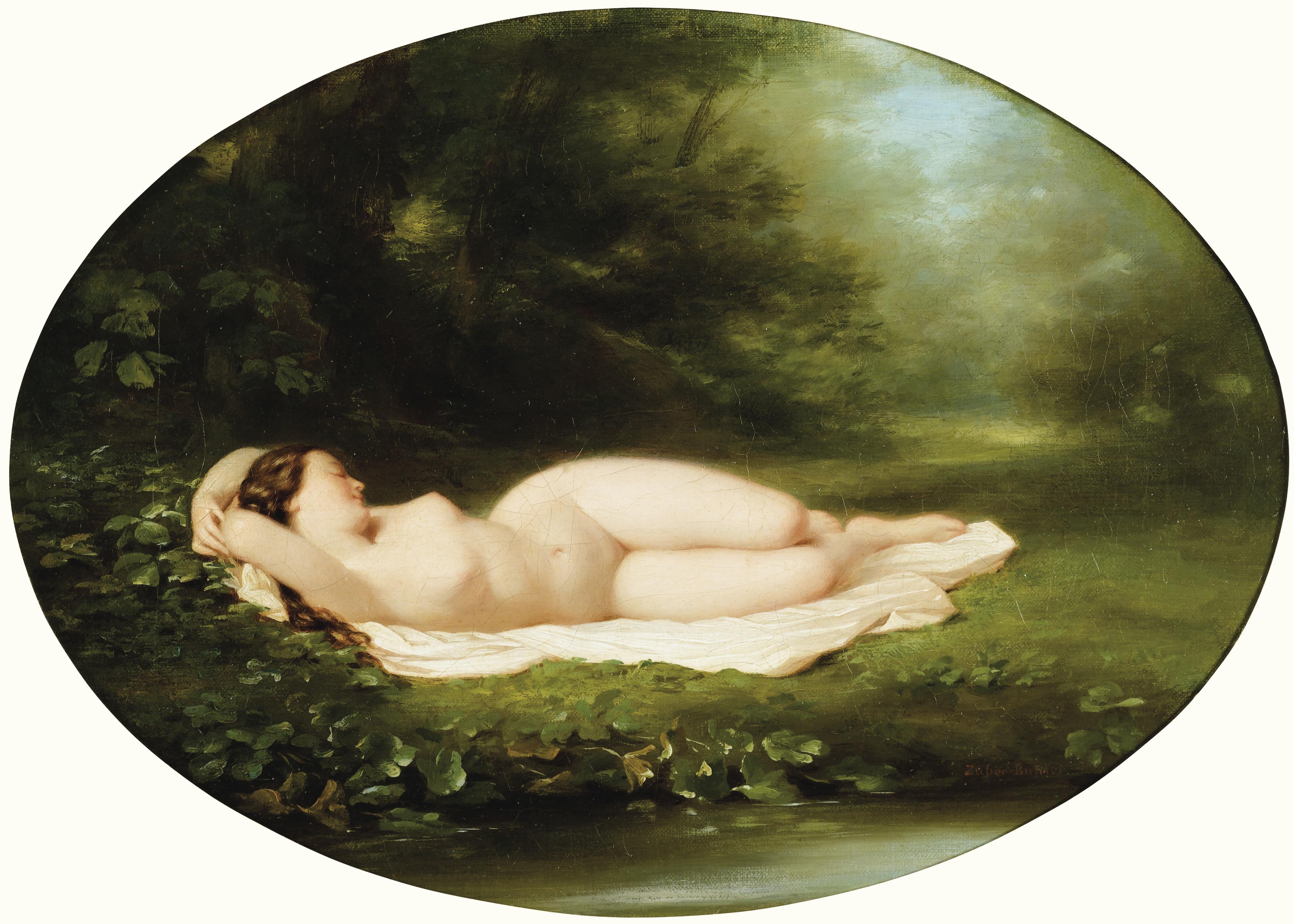Fritz Zuber-Buhler, 1822-1896. Спящая купальщица. 17 х 23 см. Частная коллекция