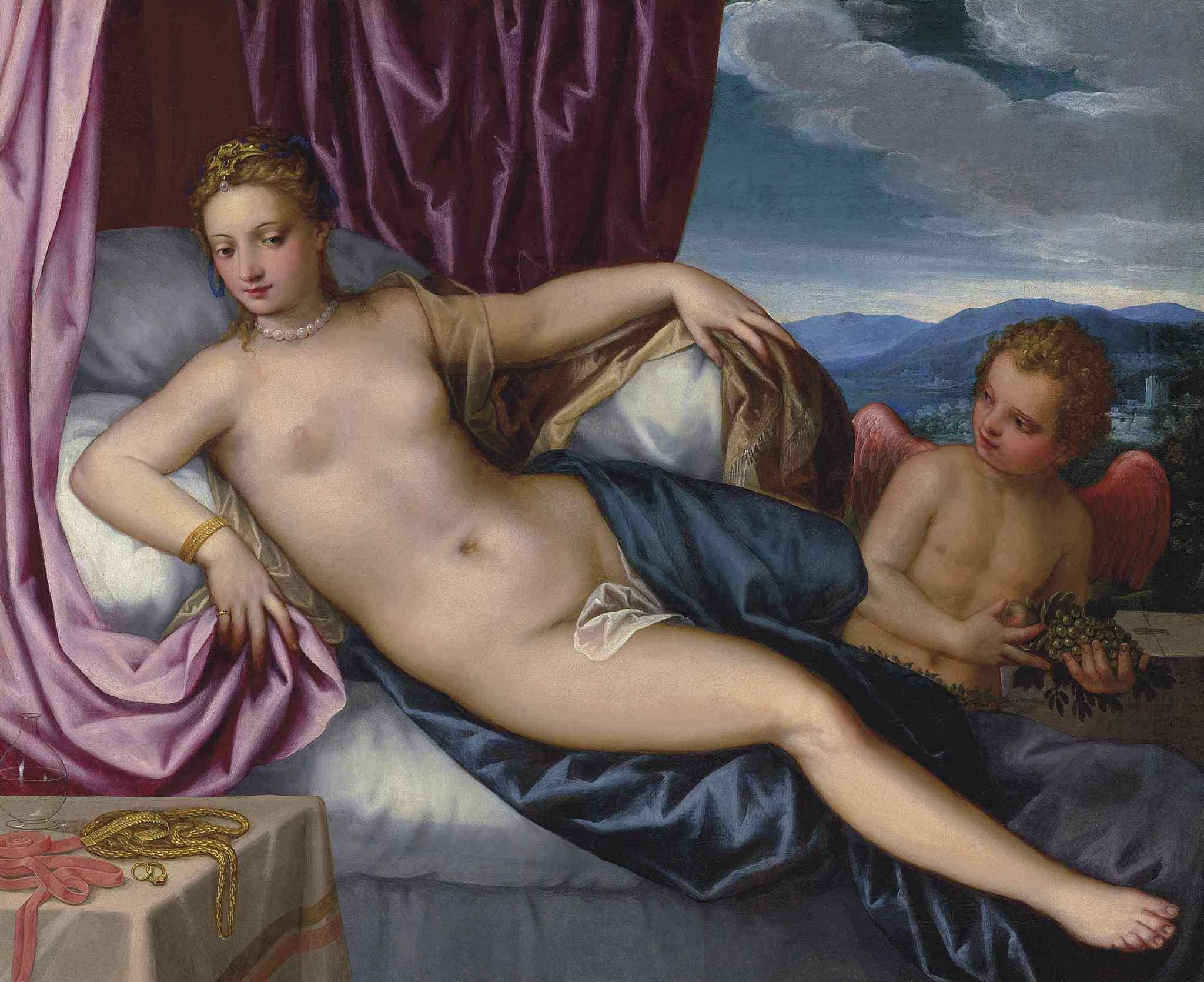 Hans Rottenhammer I, 1565-1625. Венера и Амур. 73.7 x 90.7 см. Частная коллекция