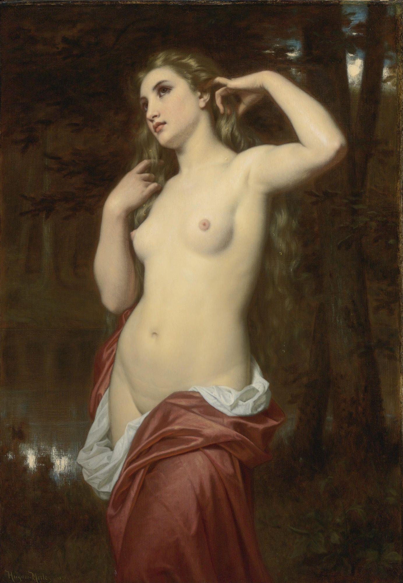 Hugues Merle, 1823-1881. Купальщица. 116.8 х 81.2 см. Частная коллекция