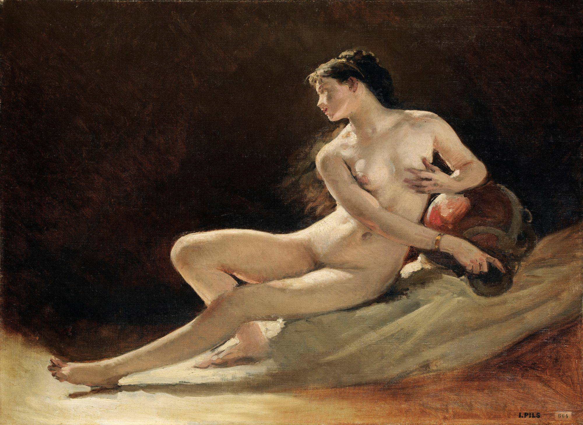Isidore-Alexandre-Augustin Pils, 1813-1875. Аллегория Сены (этюд). 53 х 62 см.