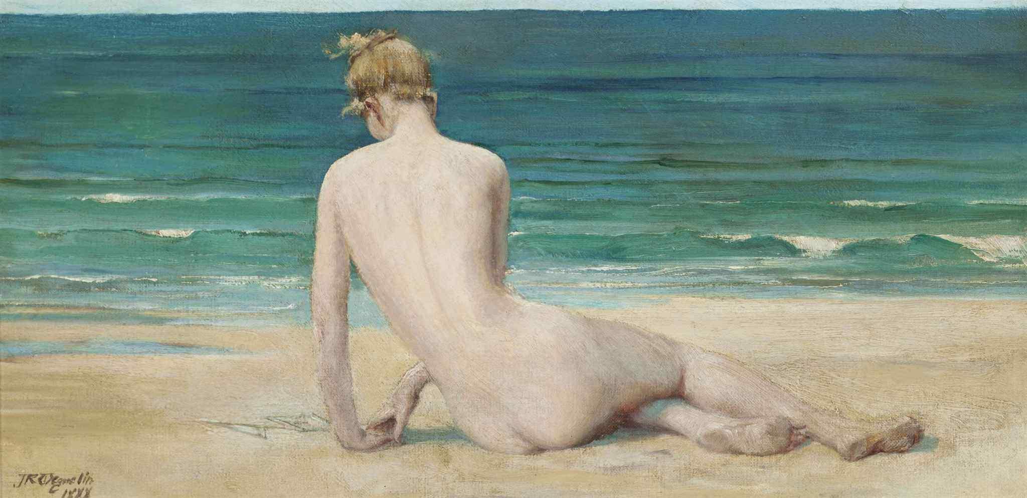 John Reinhard Weguelin, 1849-1927. Обнаженная на берегу. 1888. 25.4 x 51.4 см. Частная коллекция