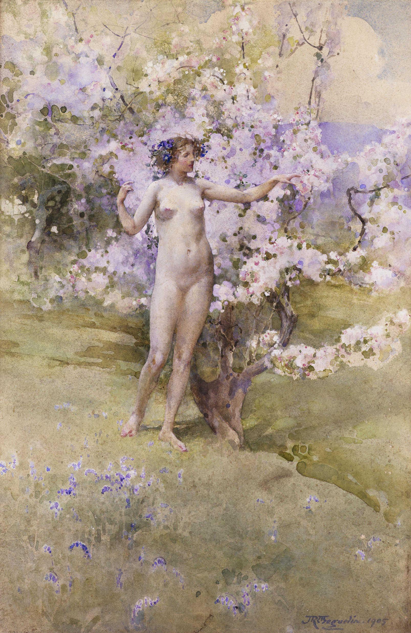 John Reinhard Weguelin, 1849-1927. Цветущая вишня. 53 x 36 см. Частная коллекция