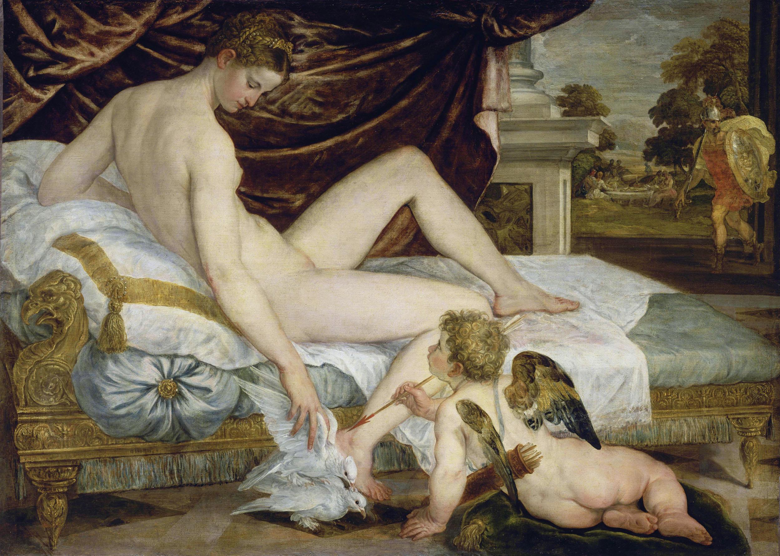 Lambert Sustris, ок.1520 - ок.1568. Венера и Купидон. ок.1560. 132 x 184 см. Париж, Лувр