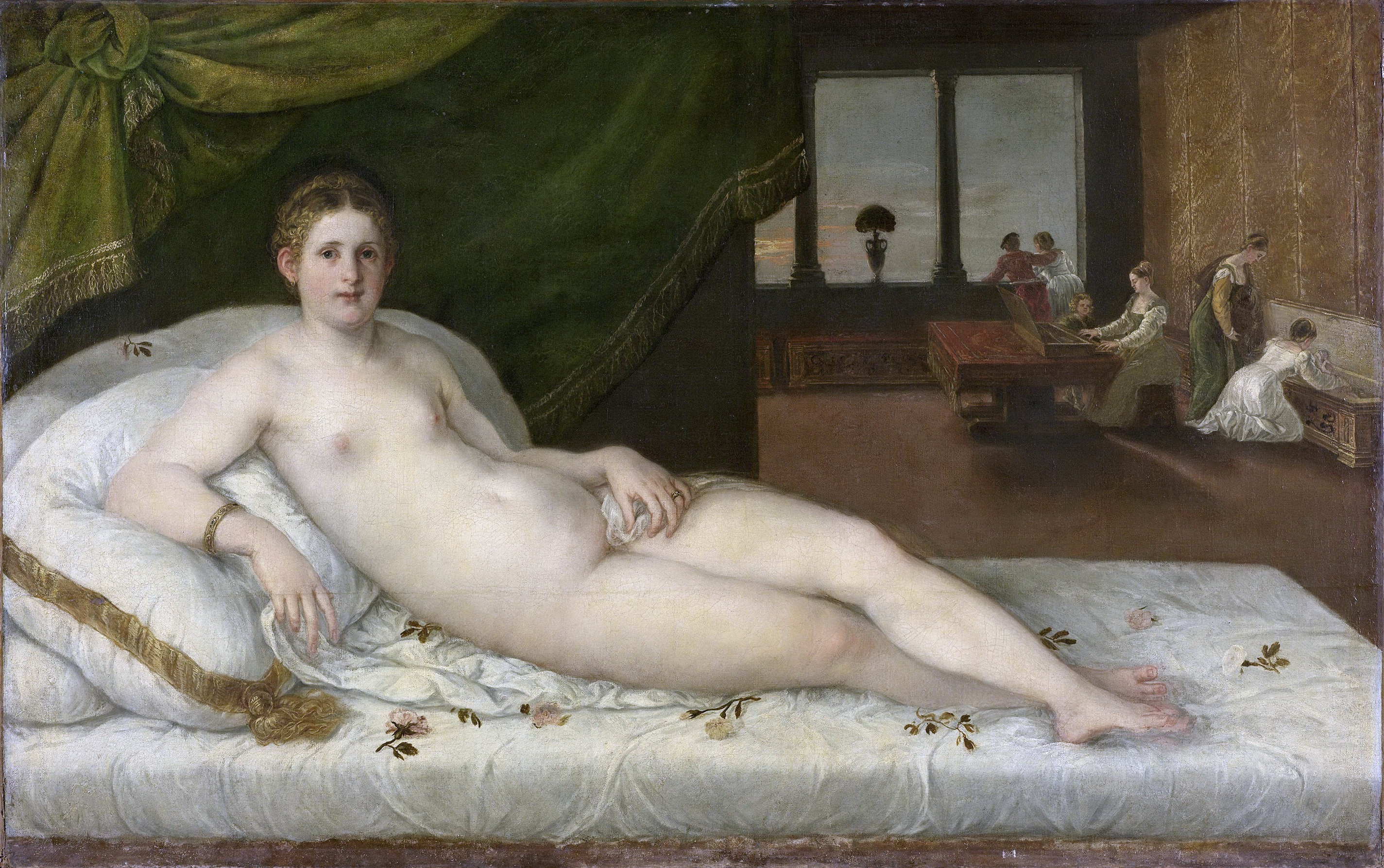Lambert Sustris, ок.1520 - ок.1568. Венера на ложе. 1540-1565. 116 х 186 см. Амстердам, Рейксмузеум