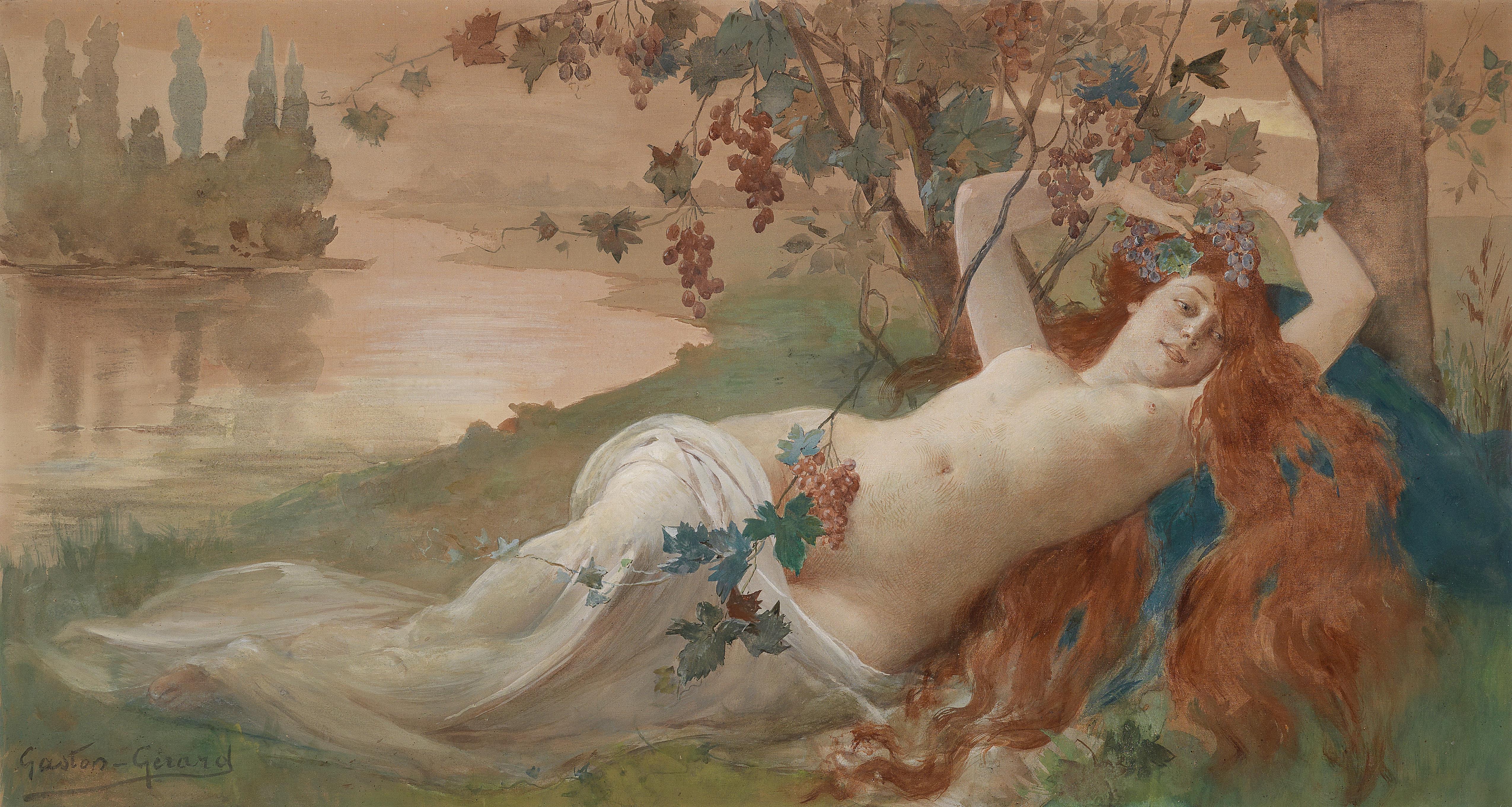Louis Gaston Gerard, род в 1859. Осенняя красавица. 76 х 122 см. Частная коллекция