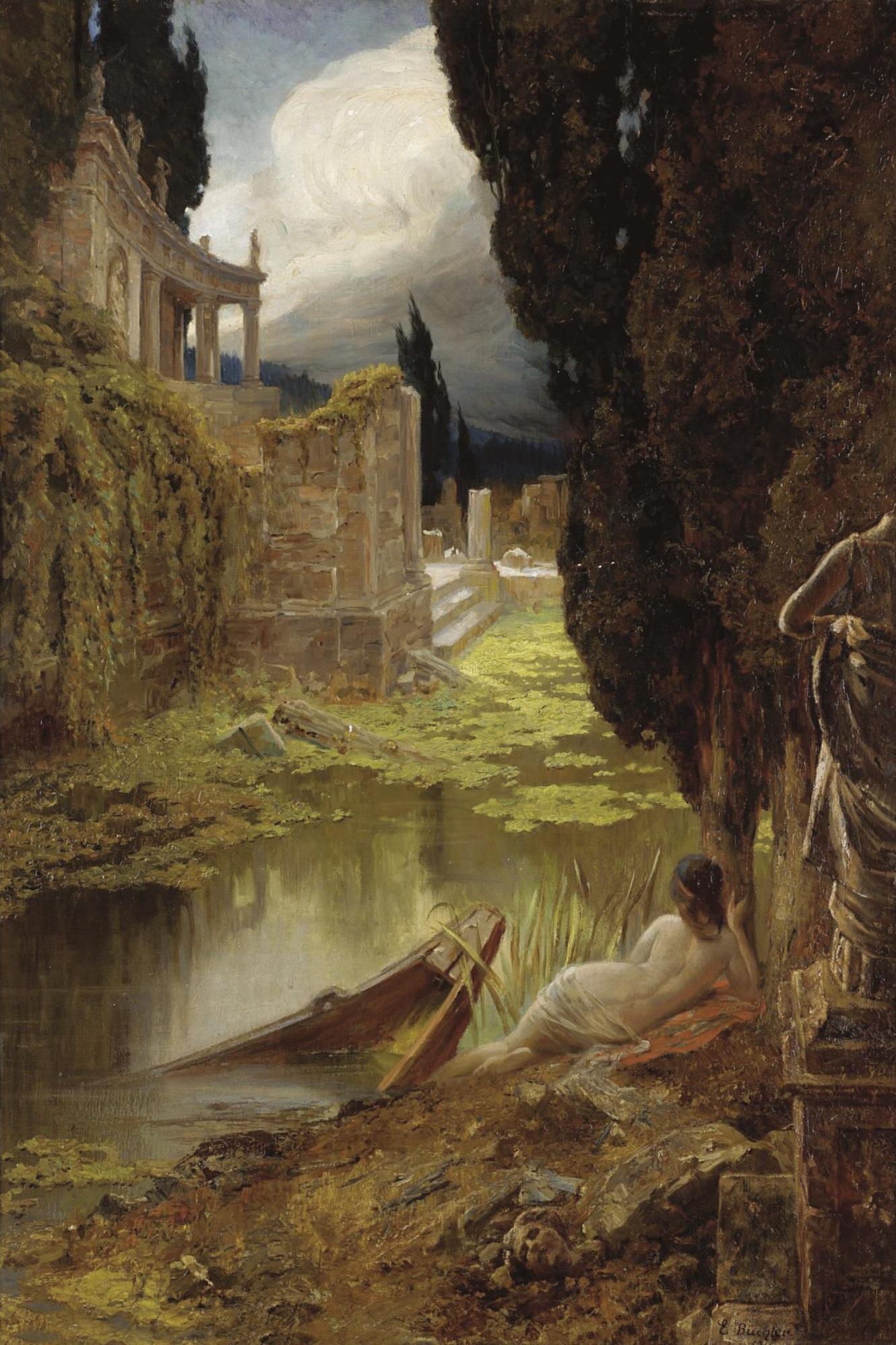 Eduard Buchler, 1861-1958. Классические руины с обнаженной на переднем плане. 1915. 68 х 47.5 см. Частная коллекция