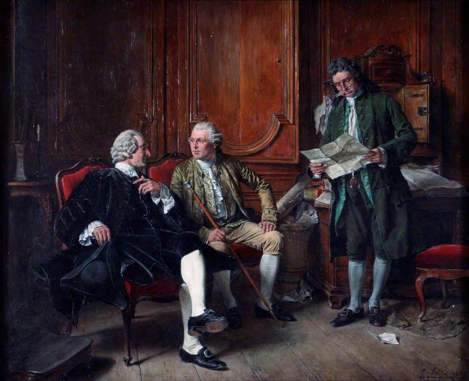 Conversation Piece Three Men in Eighteenth-Century Costume