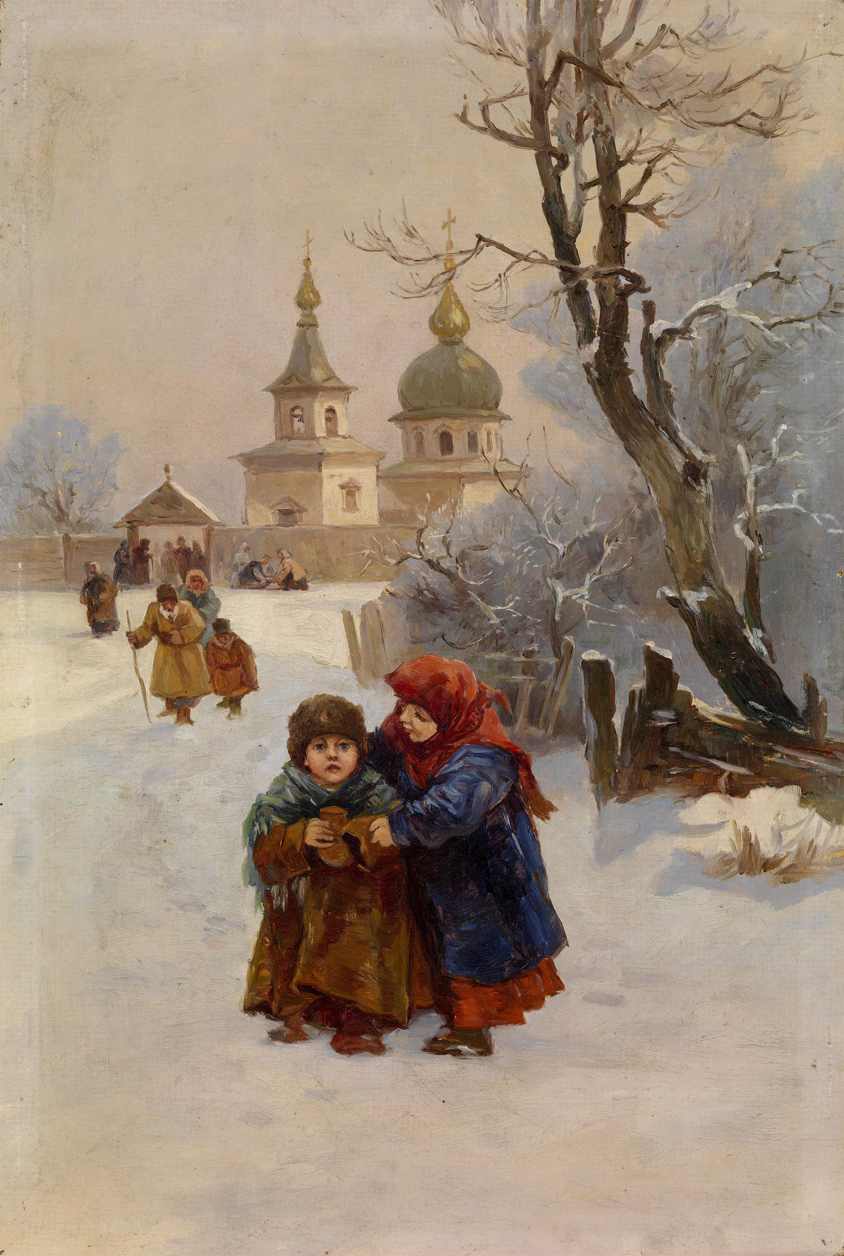 IZHAKEVICH, IVAN Children Walking from Church.