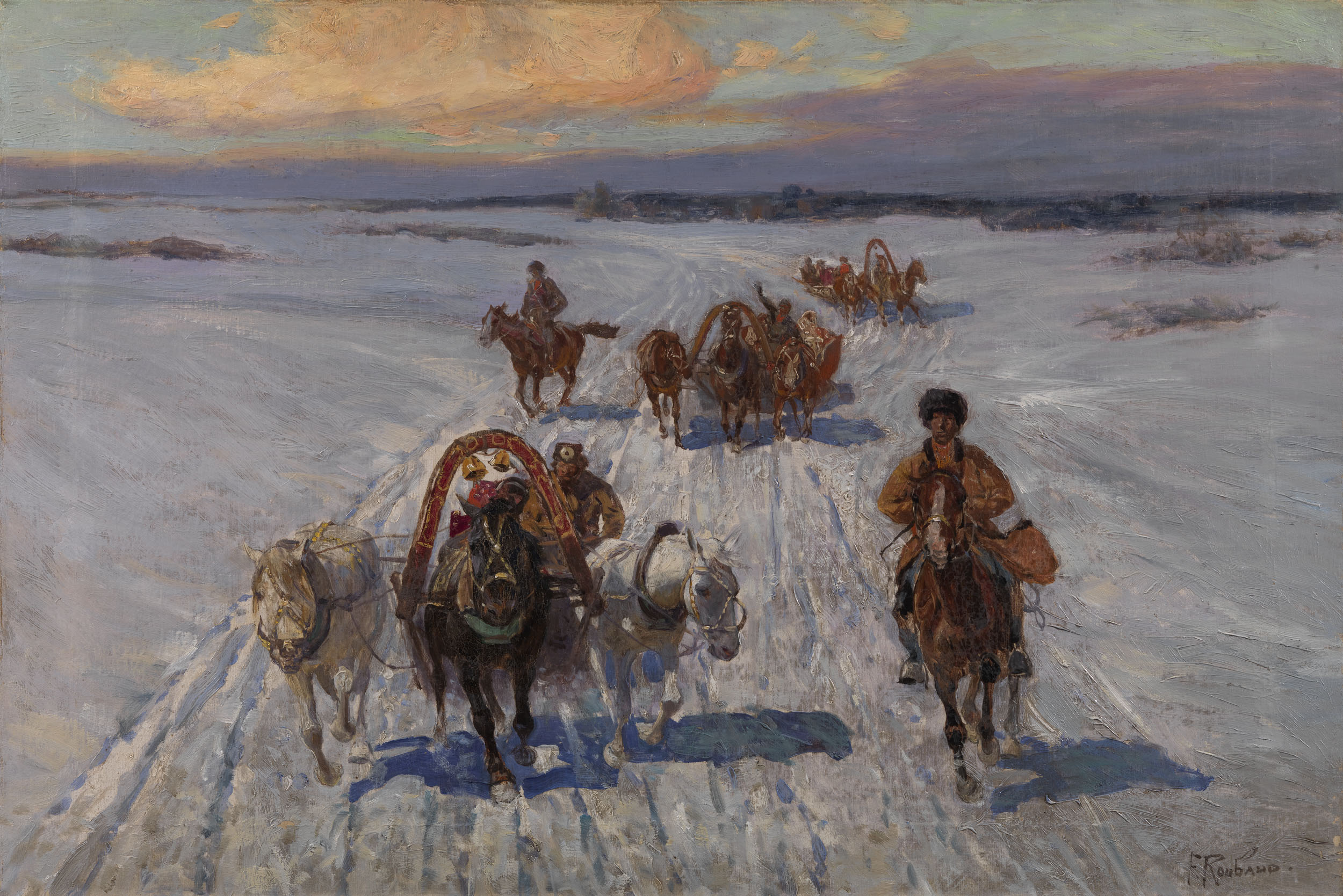 ROUBAUD, FRANTS Peasants on Troikas in Winter