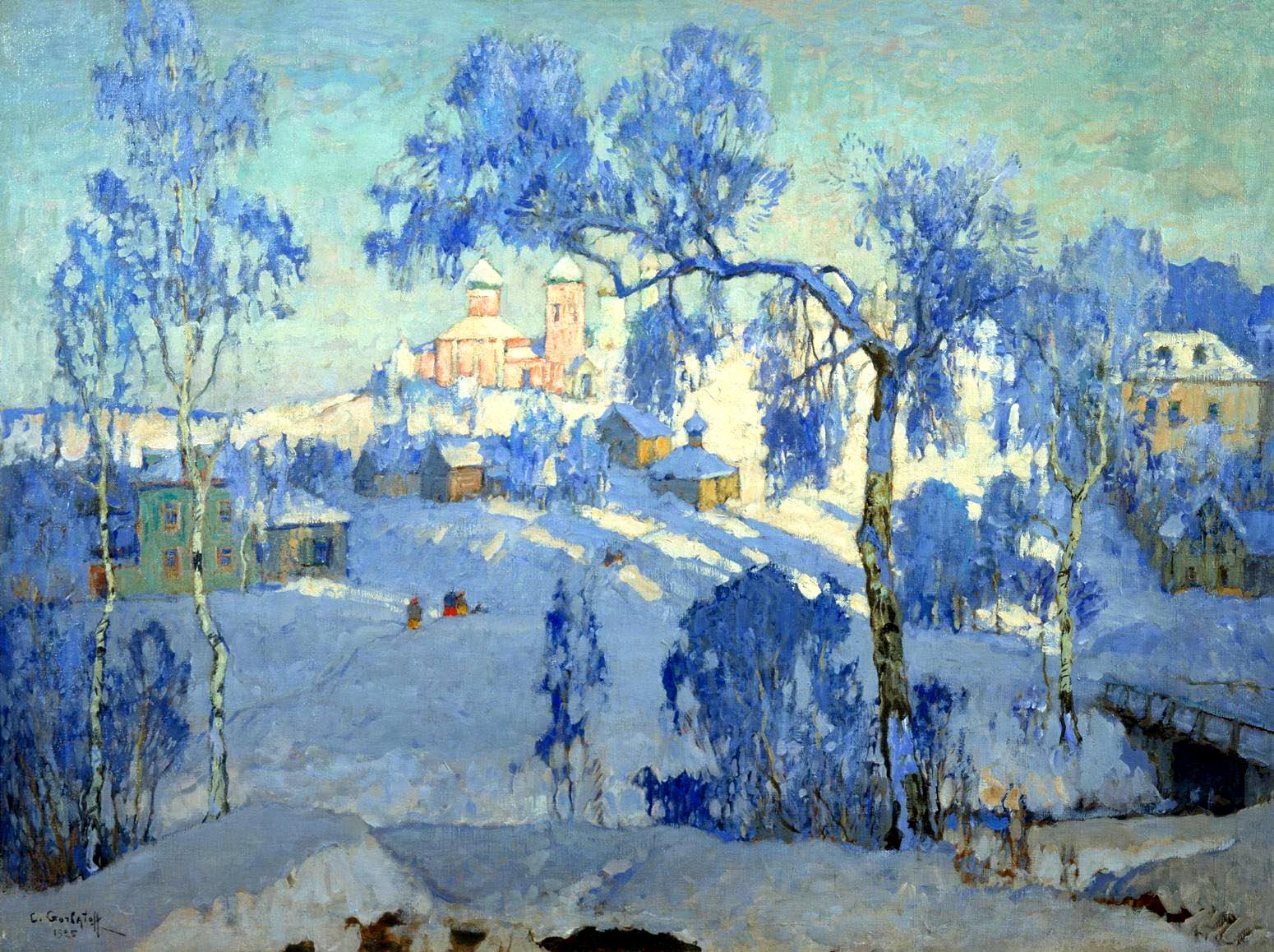 ГОРБАТОВ Константин - Зимний пейзаж с церковью. 1925