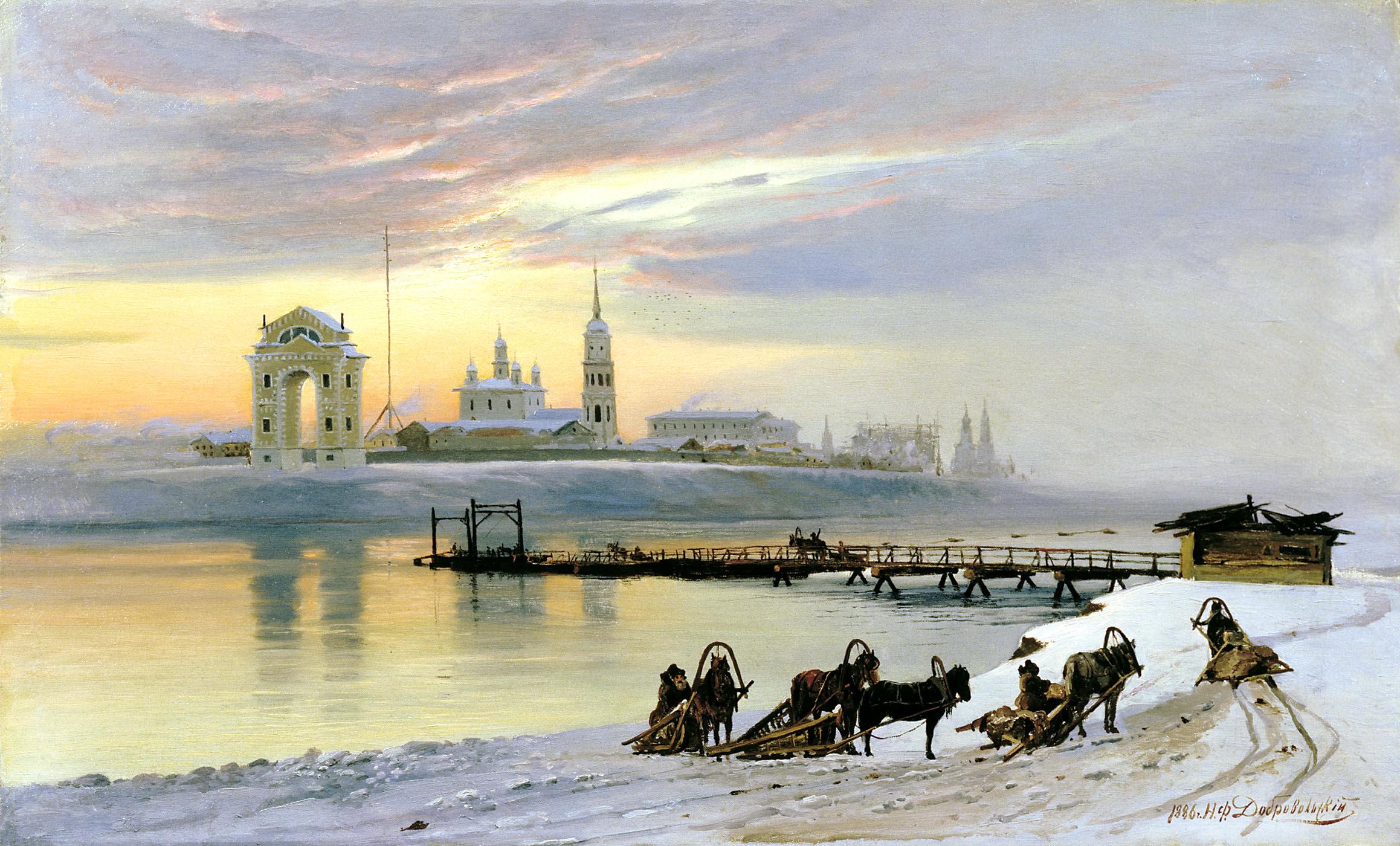 ДОБРОВОЛЬСКИЙ Николай - Переправа через Ангару в Иркутске