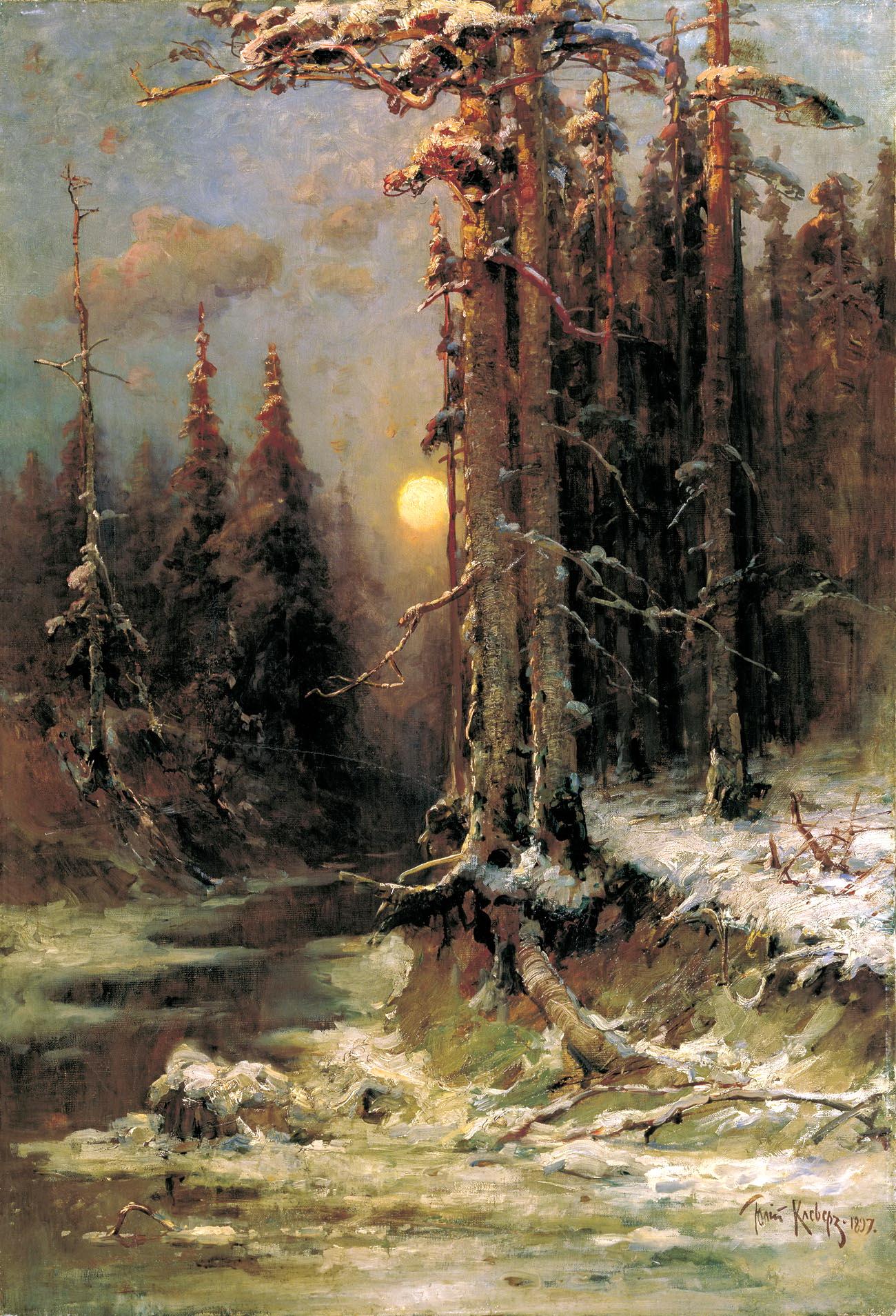 КЛЕВЕР Юлий - Закат солнца зимой. 1