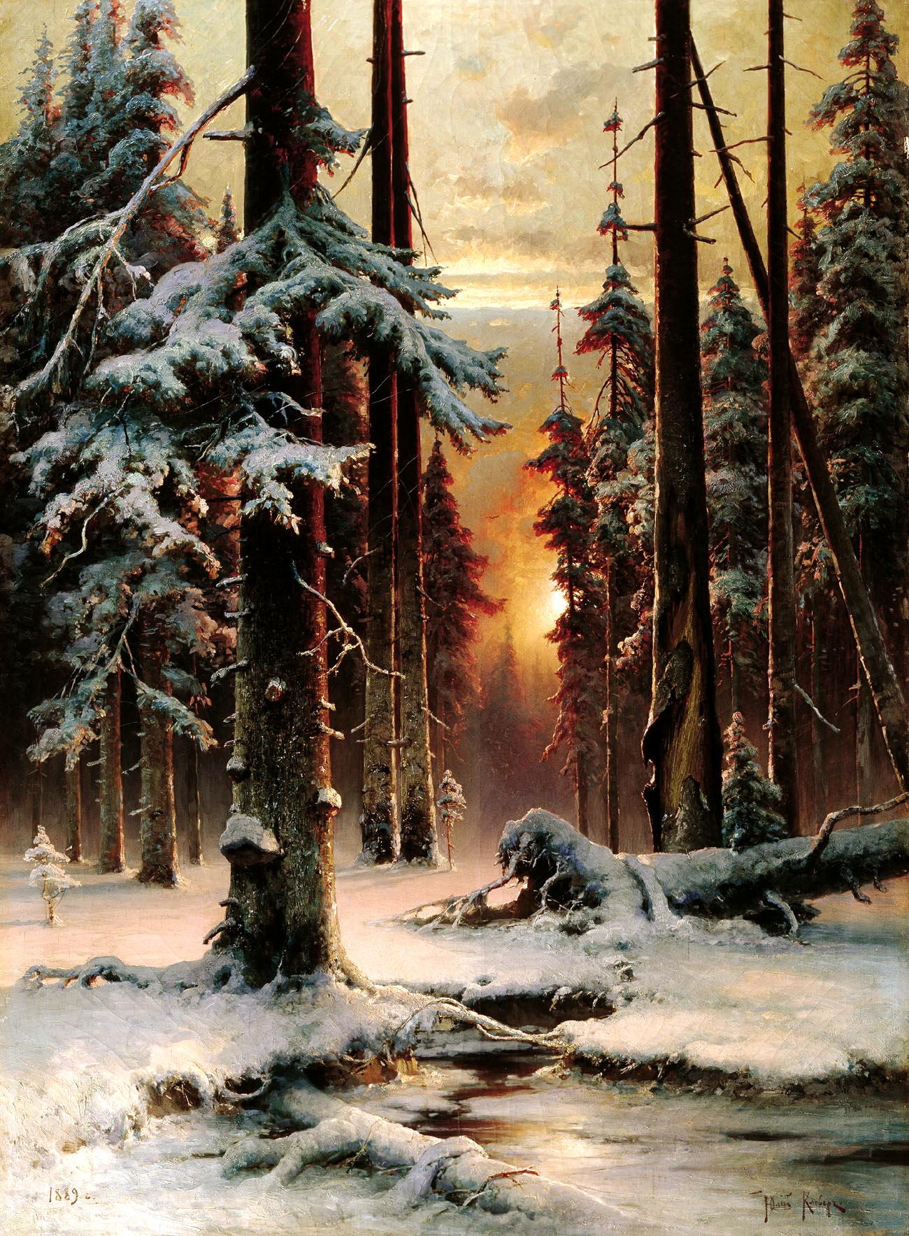 КЛЕВЕР Юлий - Зимний закат в еловом лесу