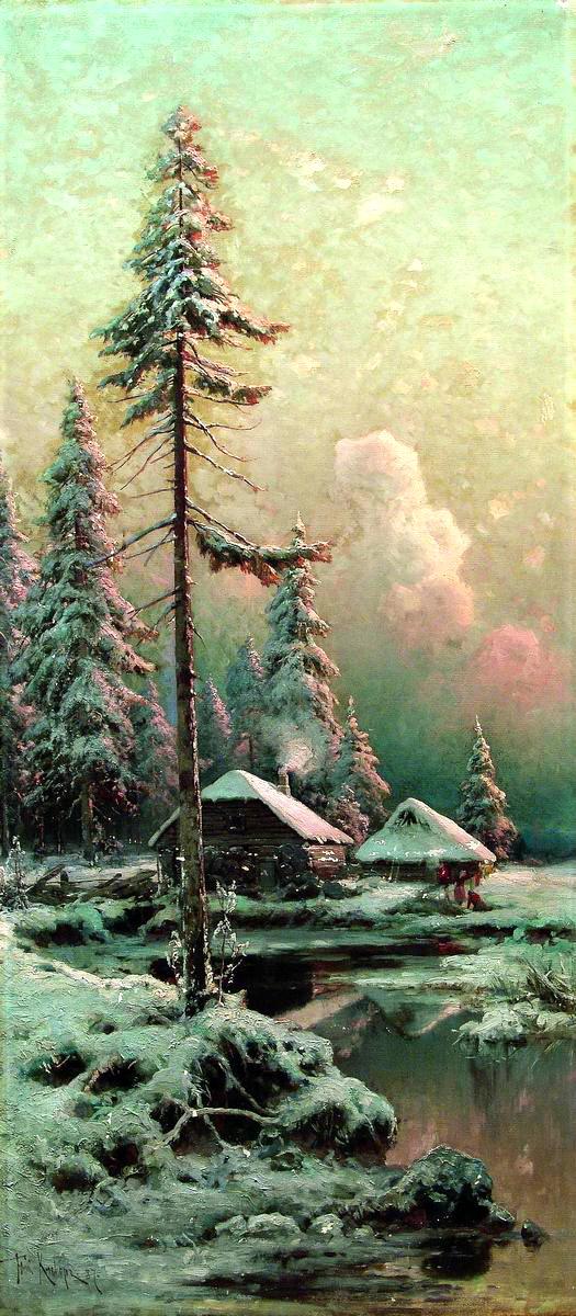 КЛЕВЕР Юлий - Зимний пейзаж с избами у реки