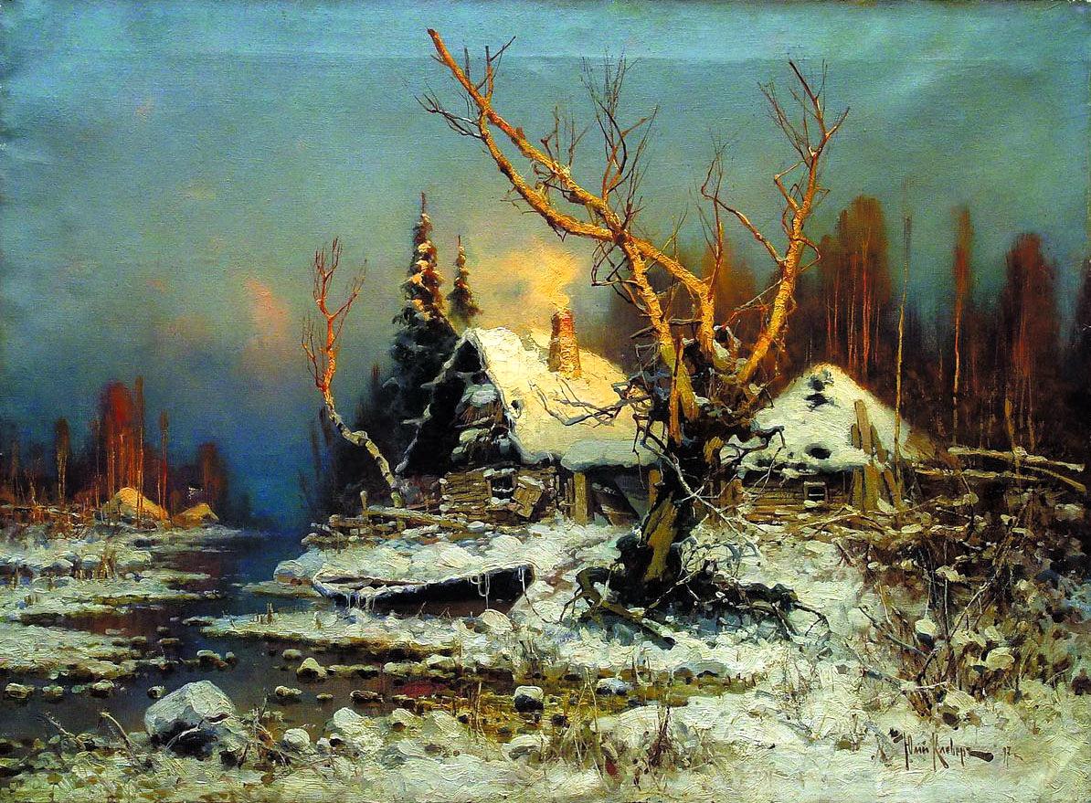 КЛЕВЕР Юлий - Зимний пейзаж с избушкой. 1