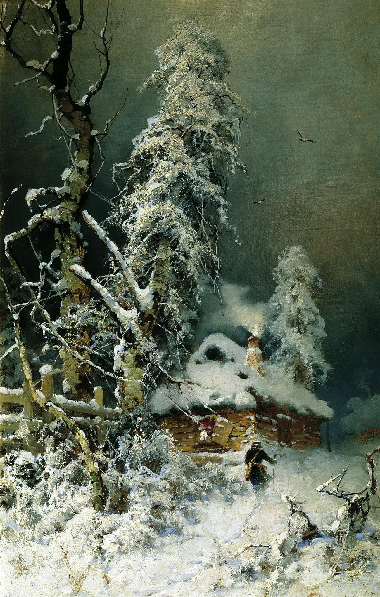 КЛЕВЕР Юлий - Зимний пейзаж с избушкой