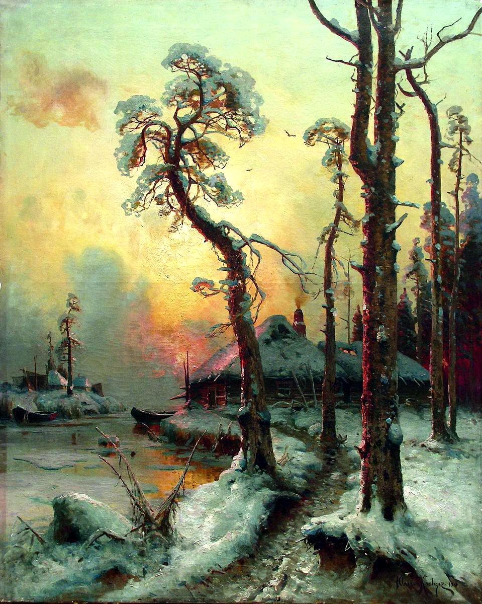 КЛЕВЕР Юлий - Зимний пейзаж с рекой и домами