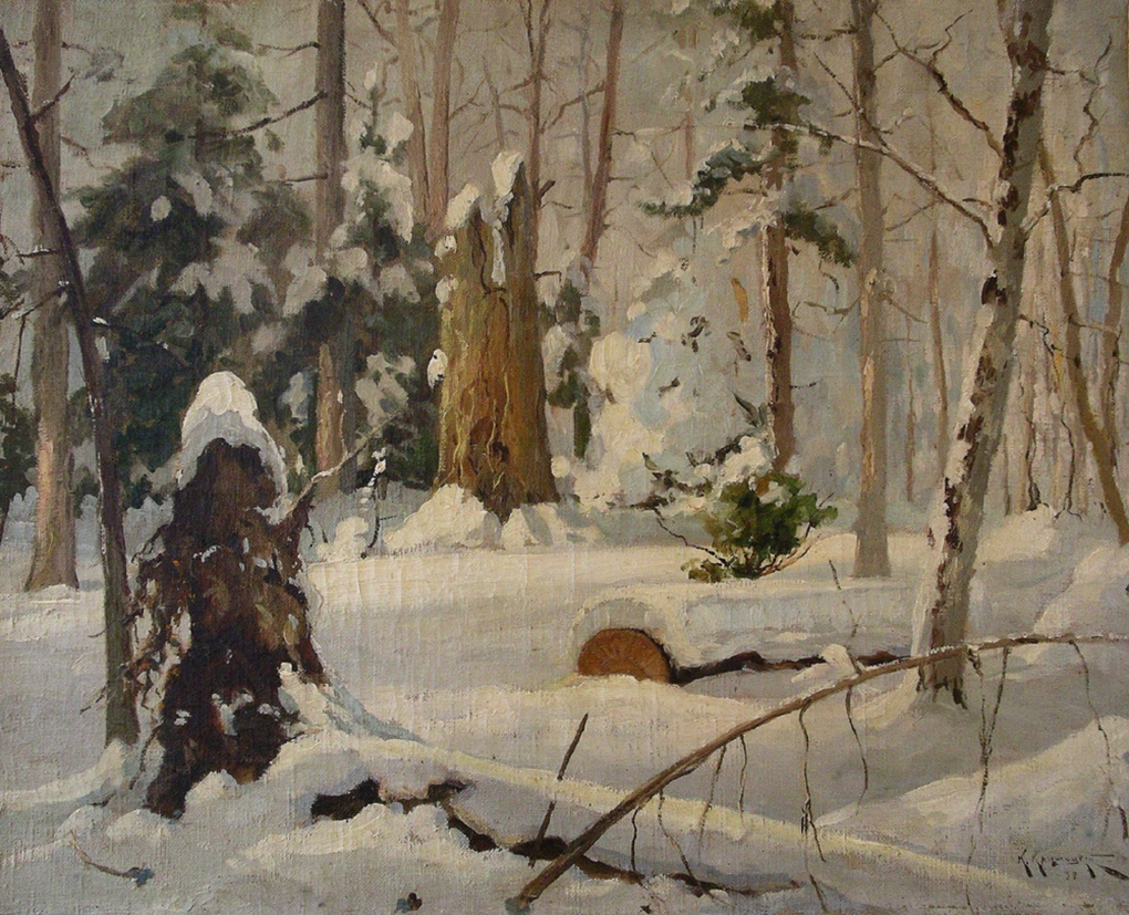 Крыжицкий Константин (1858-1911) Зимний лес. 1899