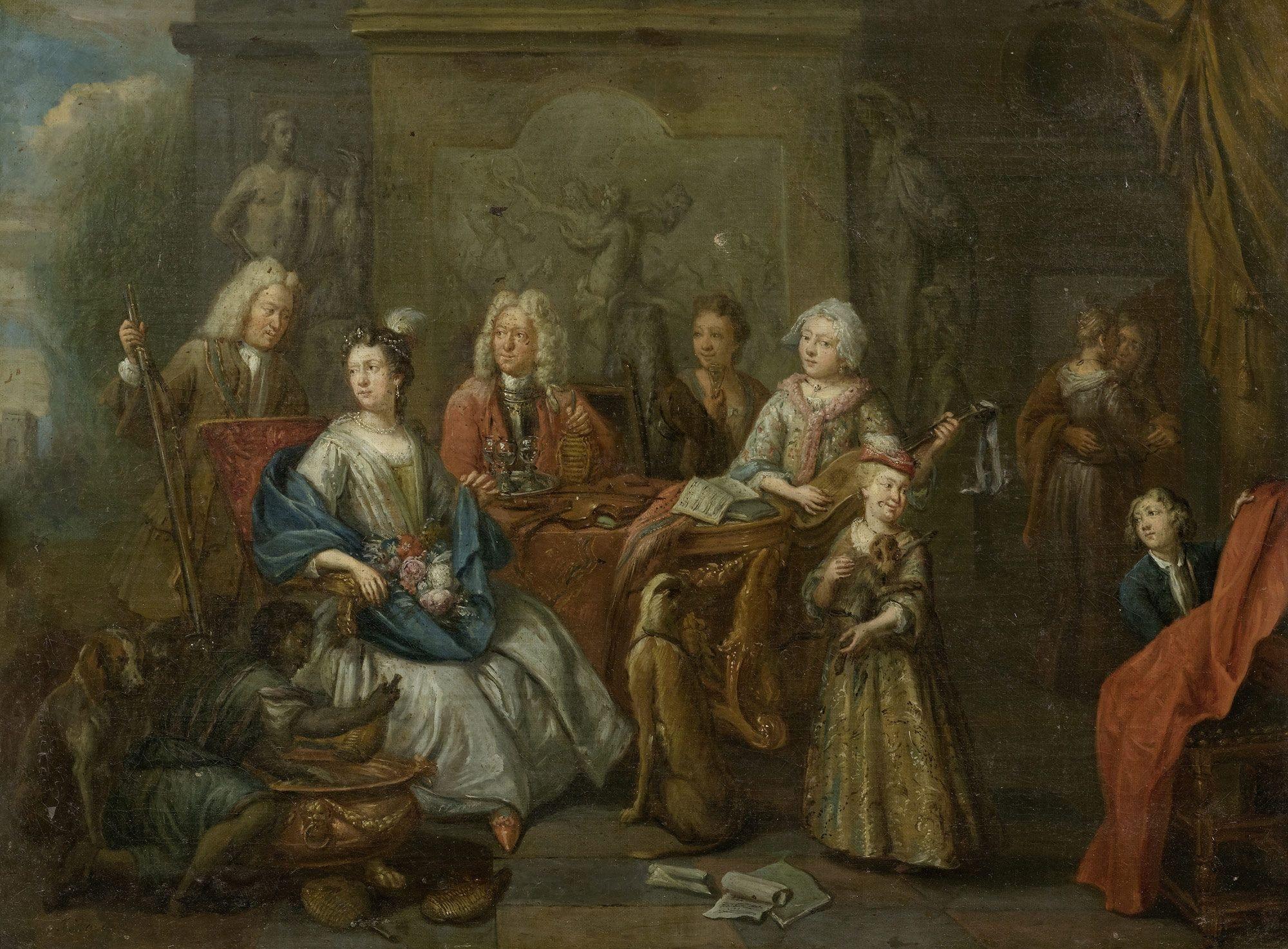 Семейный портрет с охотничьими трофеями и музыкальными инструментами. 59 x 81 см. частная коллекция-1