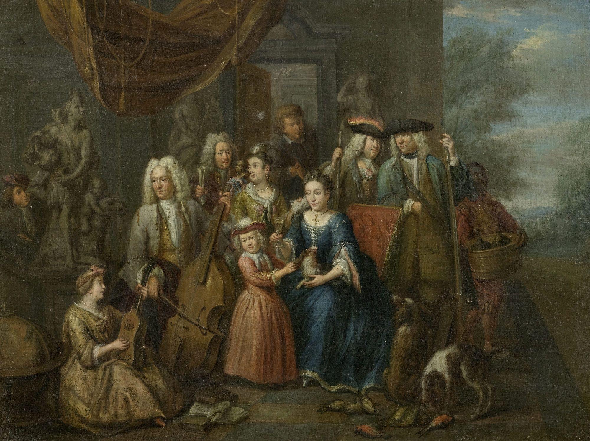 Семейный портрет с охотничьими трофеями и музыкальными инструментами. 59 x 81 см. частная коллекция-2