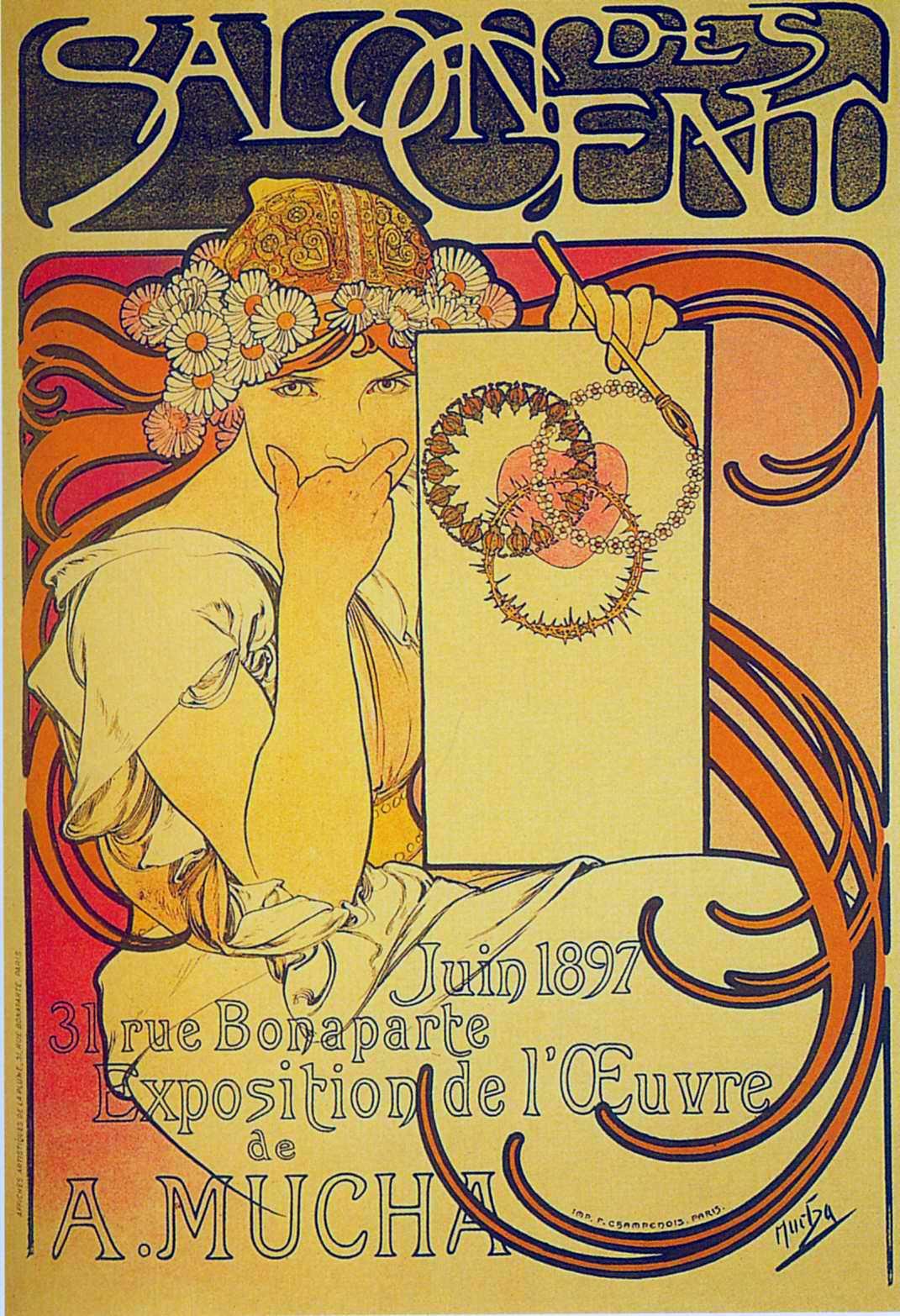 Афиша выставки работ А.Мухи в 'Салоне ста'-1897