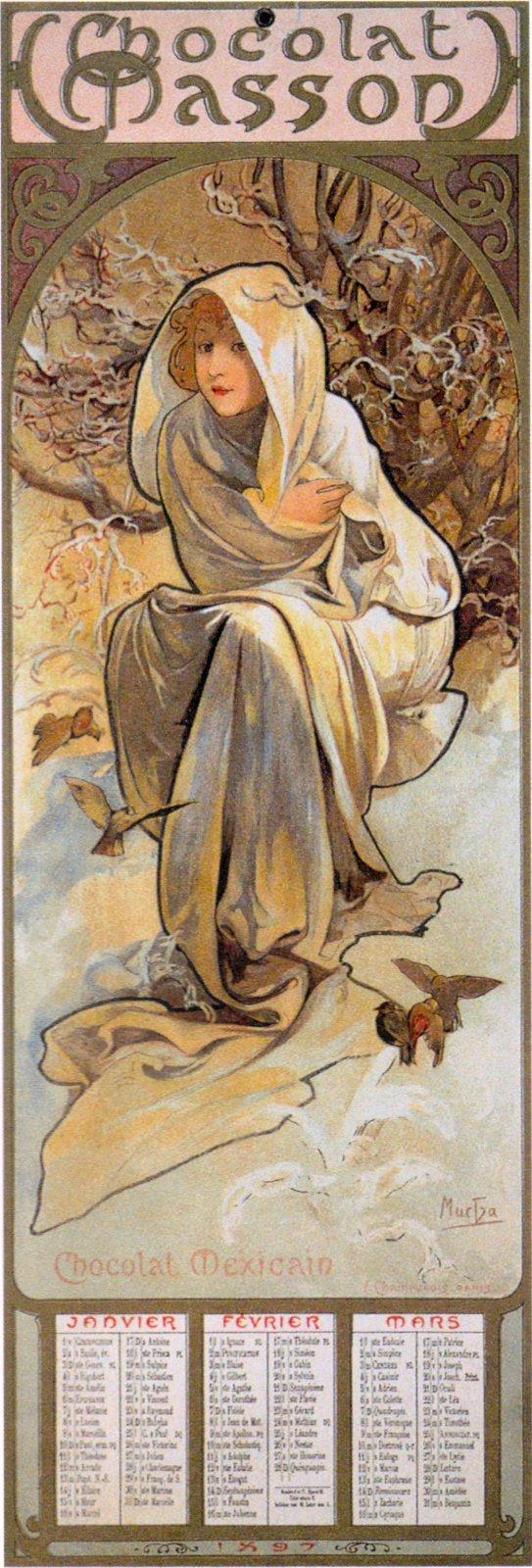 Календарь Chocolat Masson-Сезоны-Зима-1897