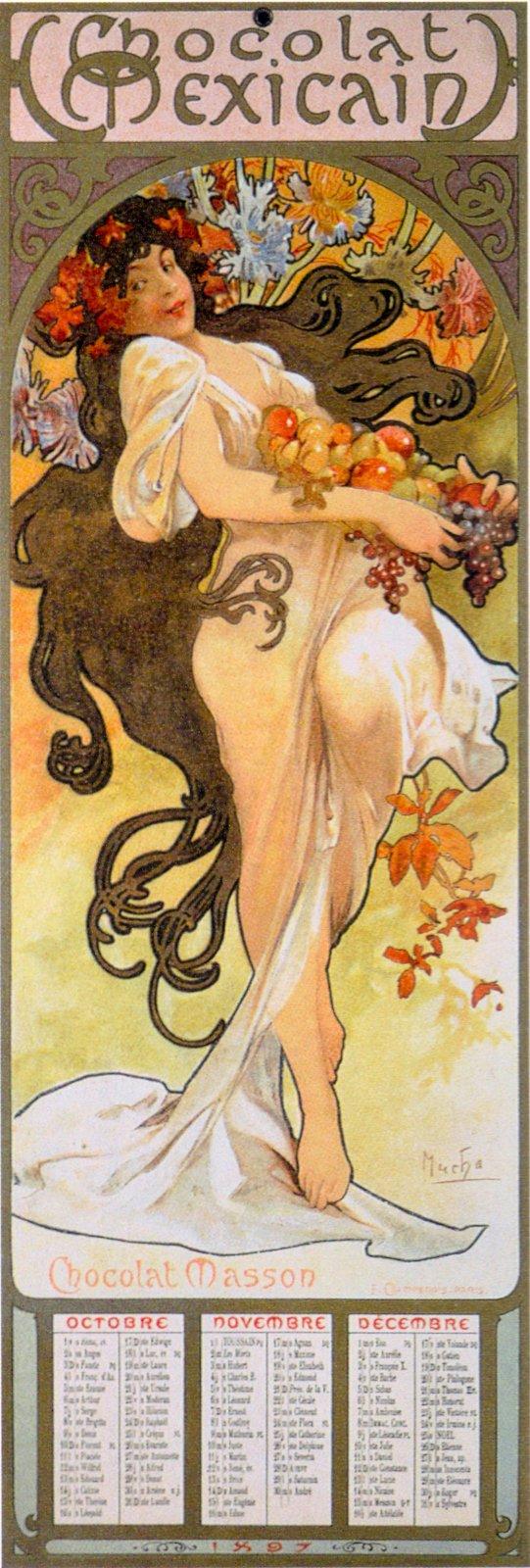 Календарь Chocolat Mexicain-Сезоны-Осень-1897