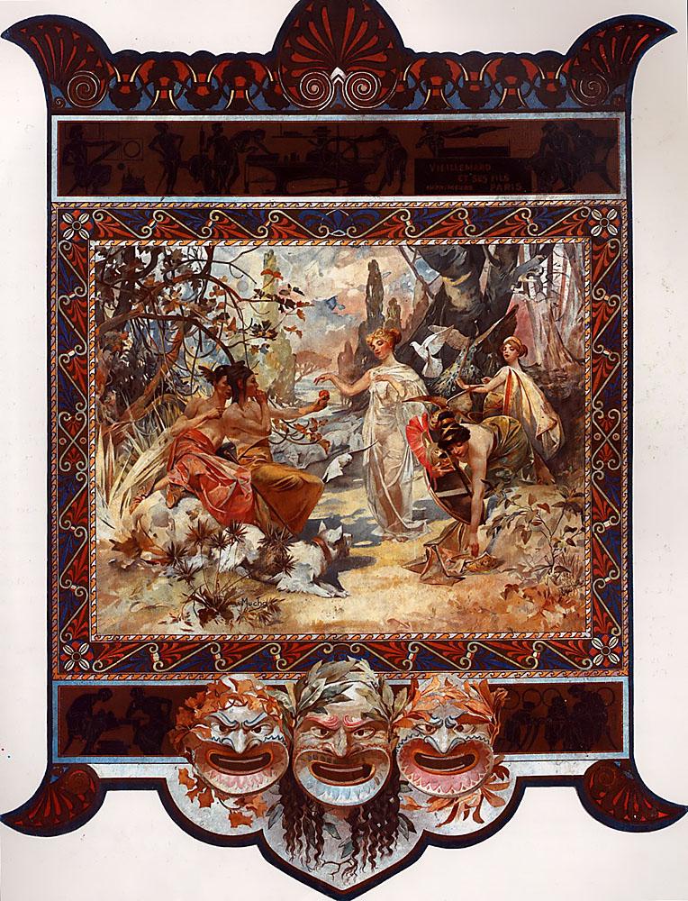 Календарь для типографии Vieillemard. Суд Париса-1895