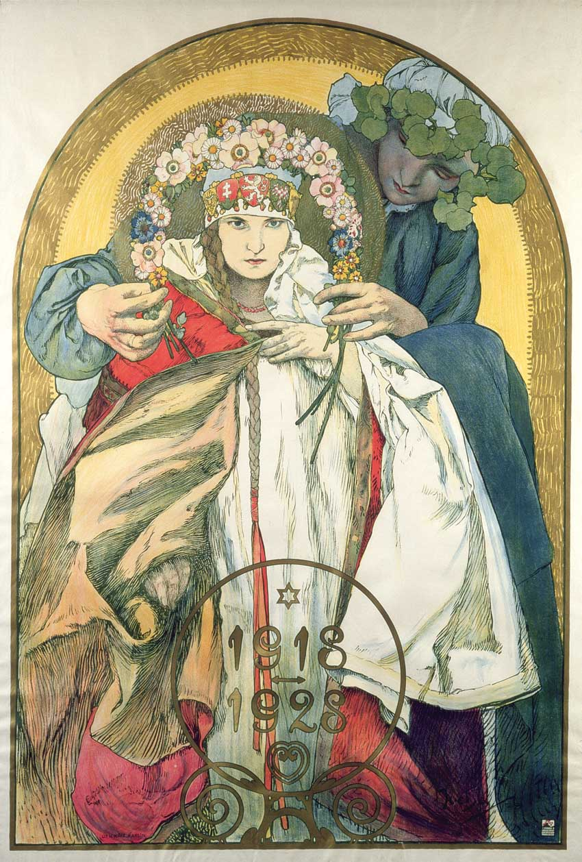 Плакат к 10-летию Независимости Республики Чехословакия-1928