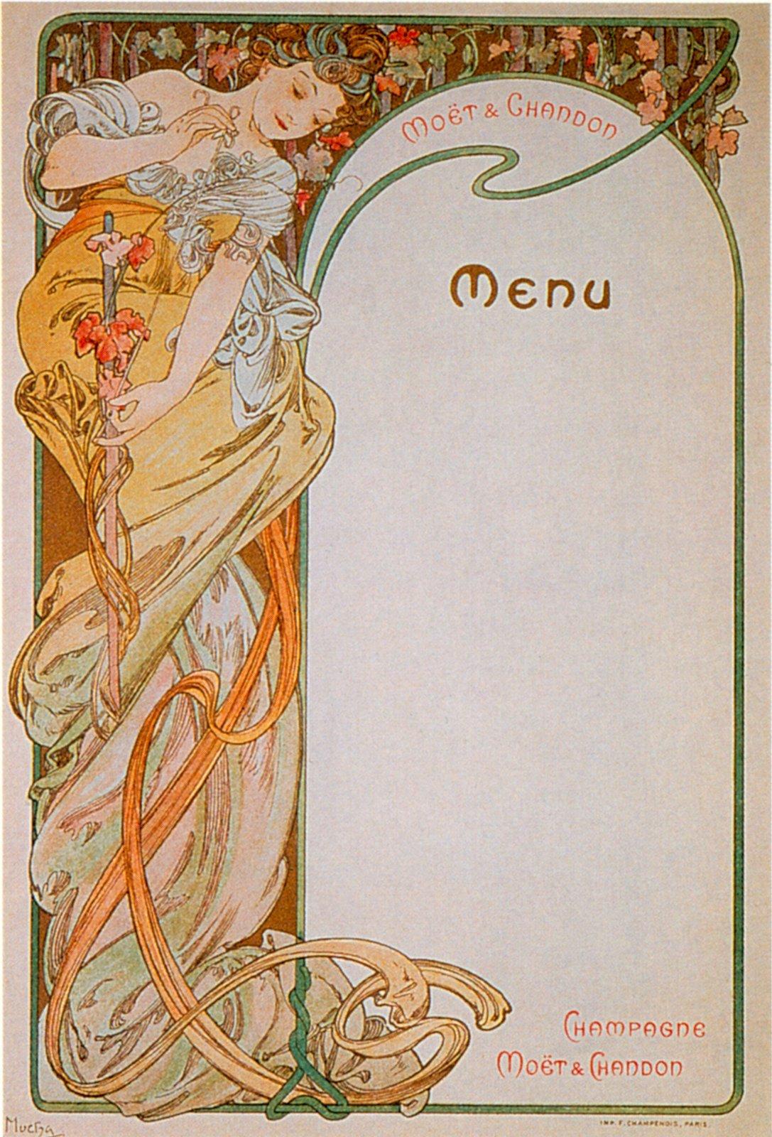 Реклама шампанского Moet & Chandon-Menu 1-1899