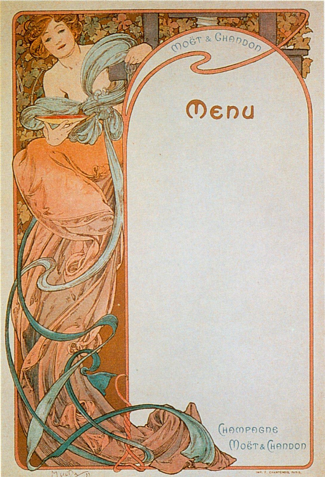 Реклама шампанского Moet & Chandon-Menu 2-1899