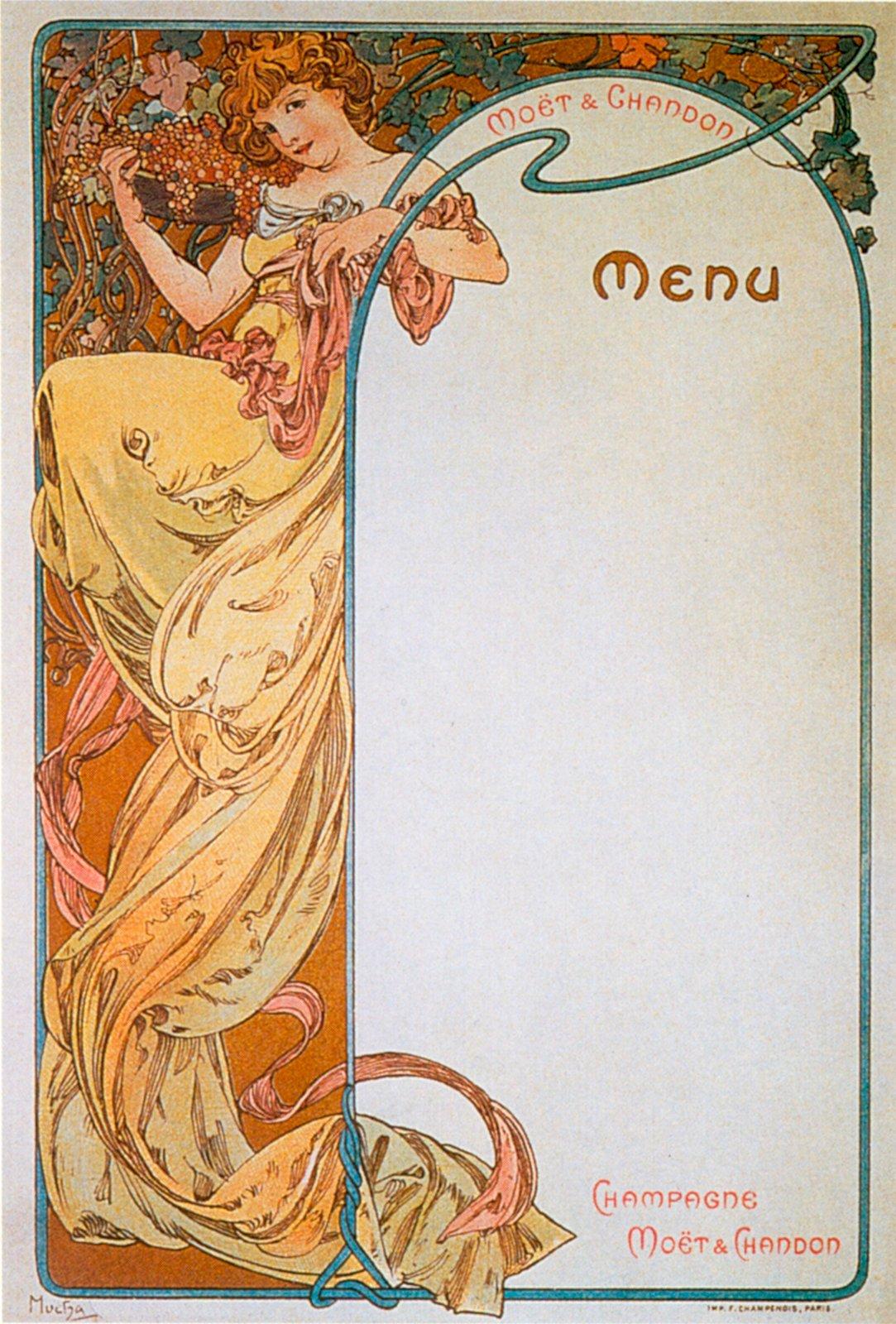 Реклама шампанского Moet & Chandon-Menu 3-1899