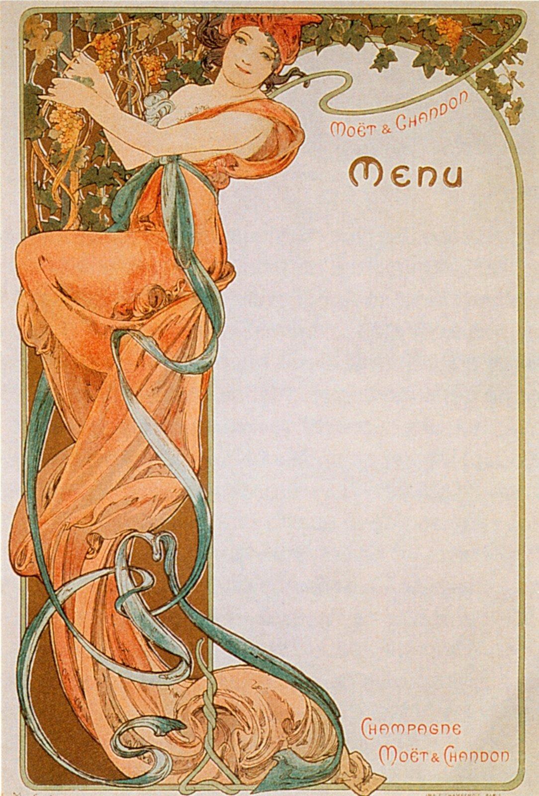 Реклама шампанского Moet & Chandon-Menu 4-1899