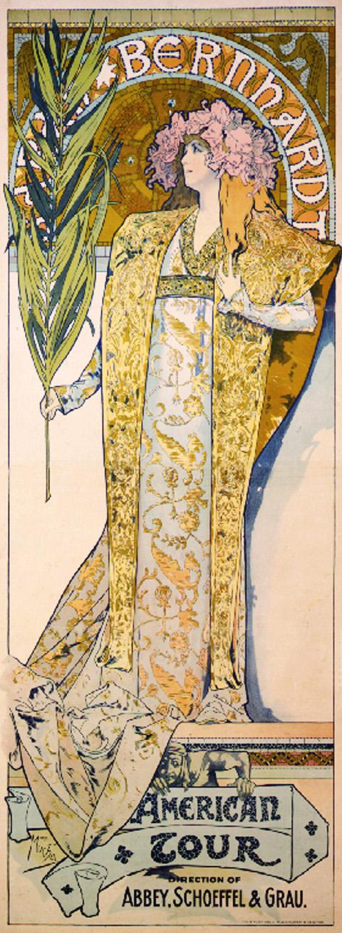 Рекламный плакат для Сары Бернар. Американский тур-1896