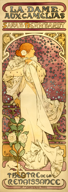 Рекламный плакат для Сары Бернар. Дама с камелиями-1896