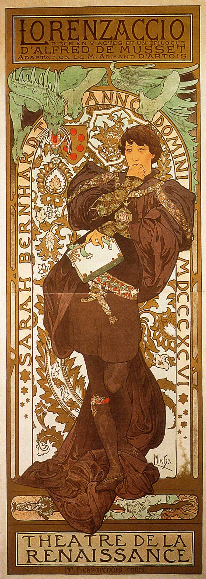Рекламный плакат для Сары Бернар. Лорензачио-1896