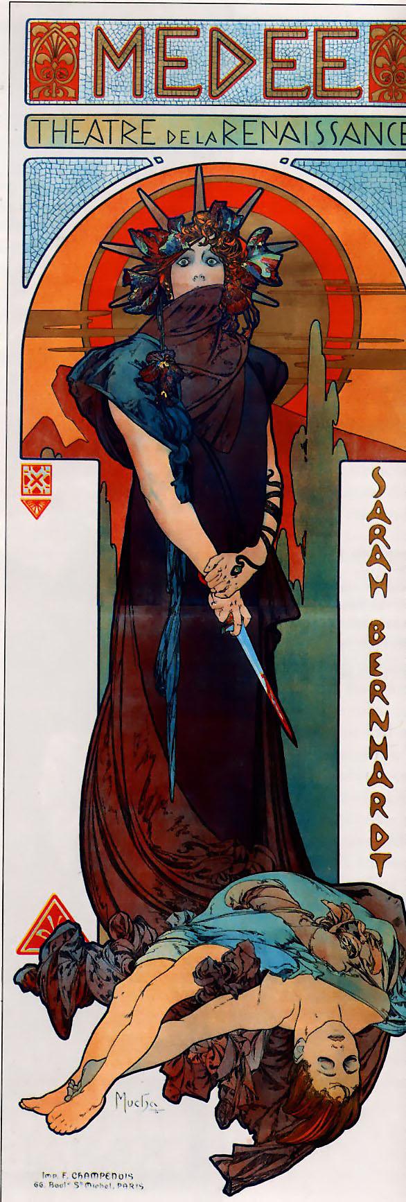 Рекламный плакат для Сары Бернар. Медея-1898