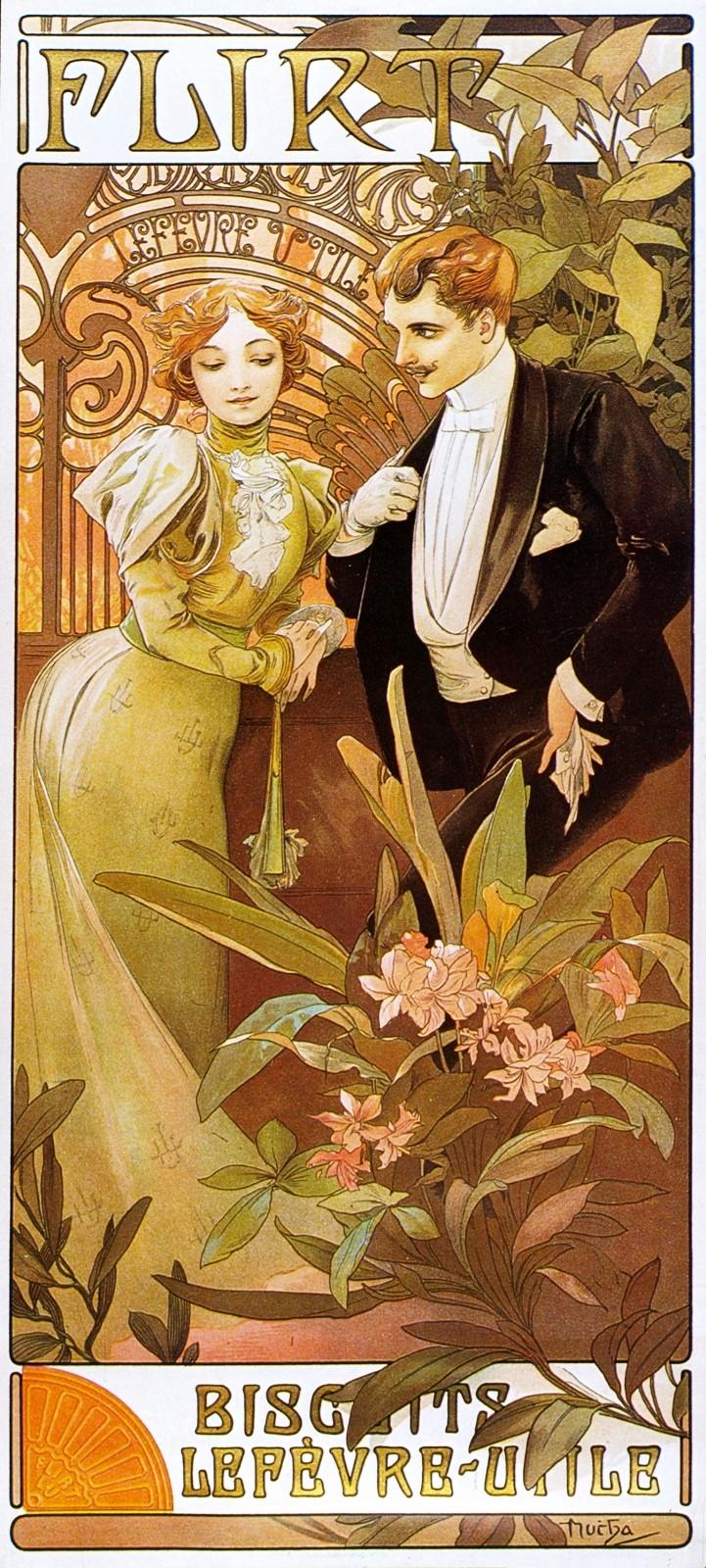 Рекламный плакат печенья  Lefevre Utile. Флирт-1899