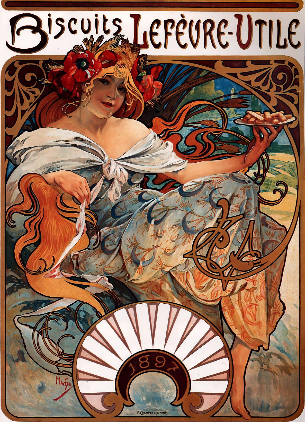 Рекламный плакат печенья  Lefevre-Utile-1896