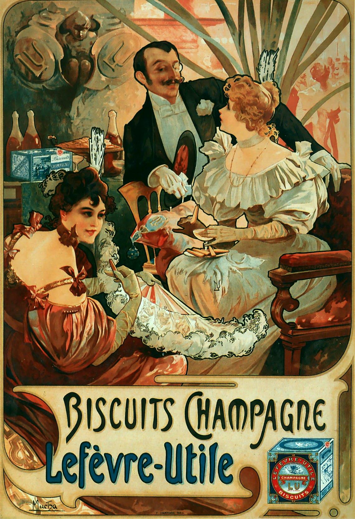 Рекламный плакат печенья и шампанского Lefevre-Utile-1896