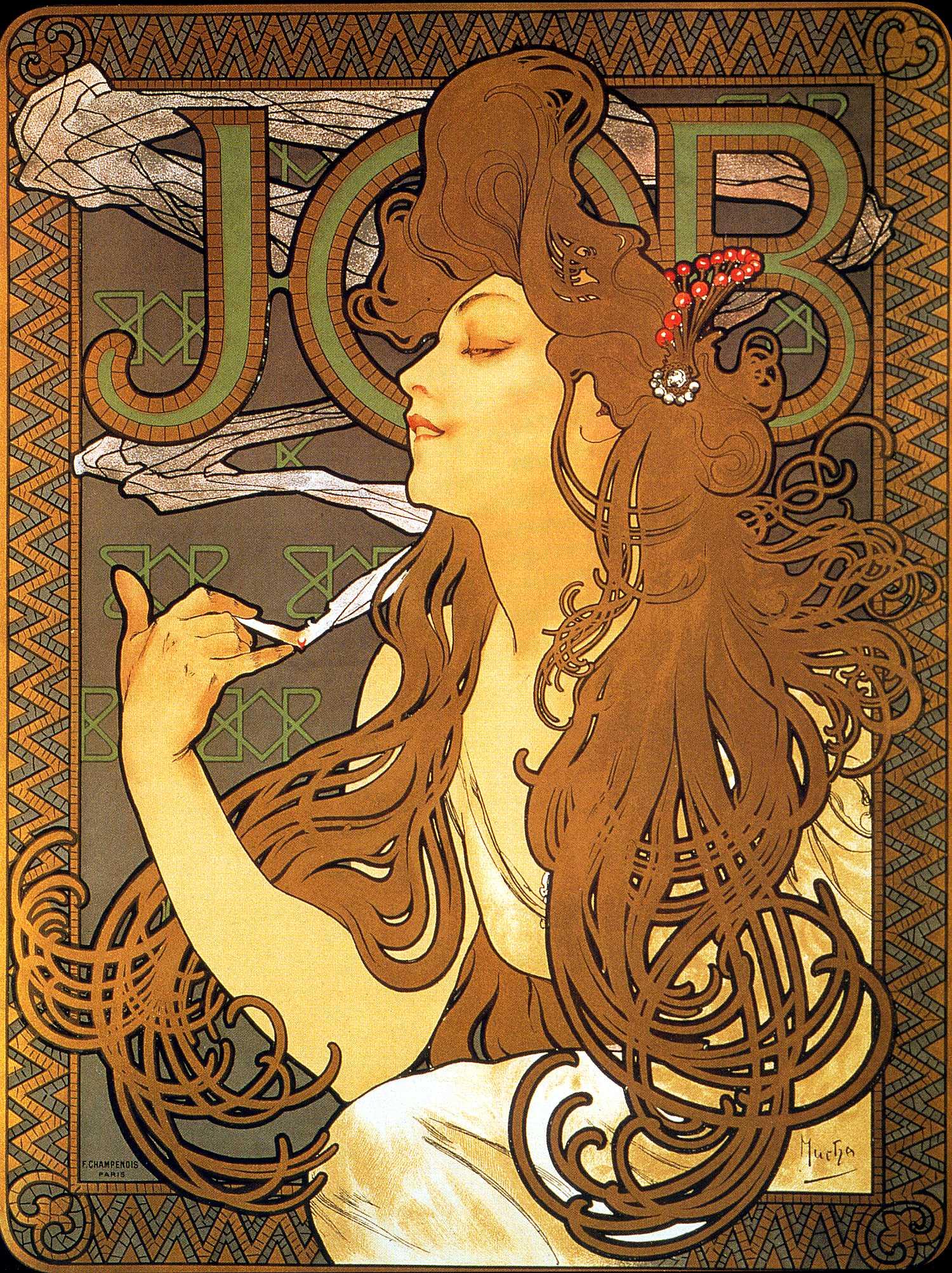 Рекламный плакат сигаретной бумаги 'Иов'-1896