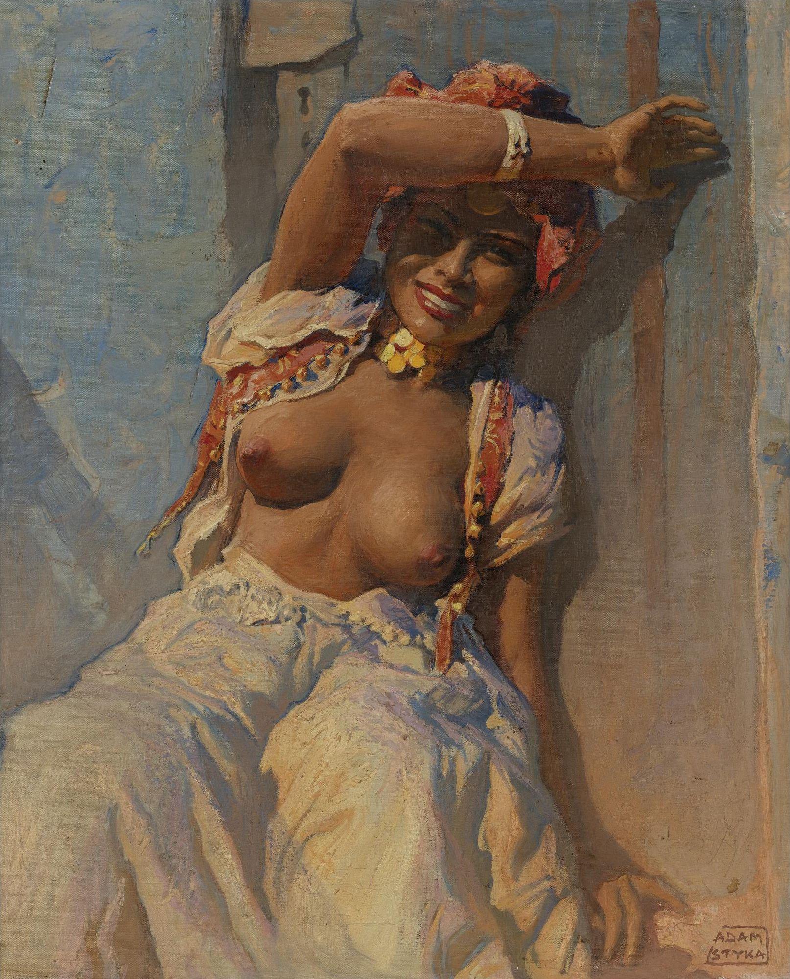 Adam Styka, 1890-1959. Марокканка Фатима у дверей. 61.2 х 51.1 см. Частная коллекция